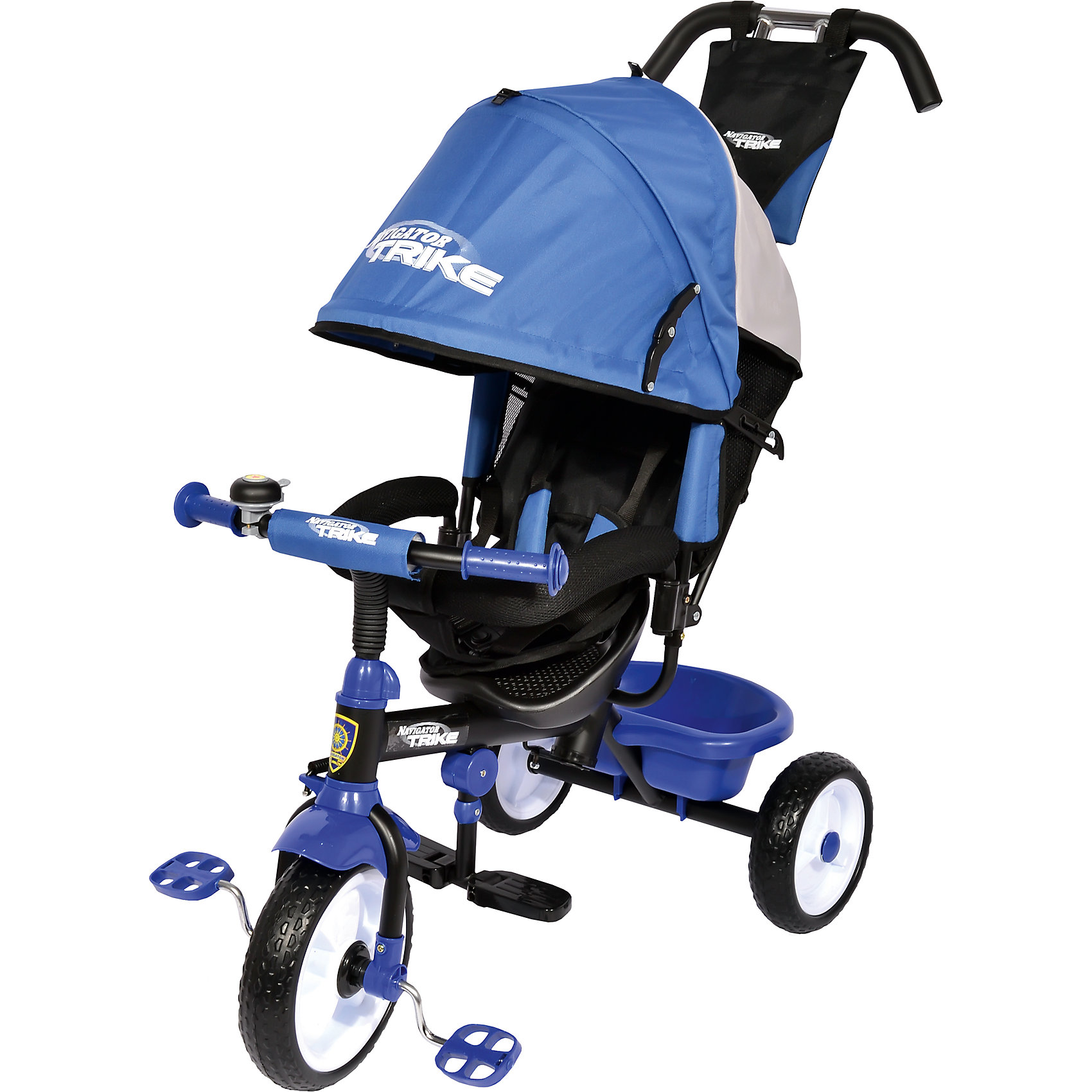 Трехколесный велосипед Lexus, с утолщенными колесами, синий, NavigatorВелосипеды детские<br>Трехколесный велосипед Lexus, с утолщенными колесами, синий, Navigator.<br><br>Характеристики:<br><br>• Для детей в возрасте: от 18 месяцев до 5 лет<br>• Максимальная нагрузка: 25 кг.<br>• Материал: металл, пластик, текстиль<br>• Цвет: синий<br>• Диаметр переднего колеса: 25 см.<br>• Диаметр задних колес: 20 см.<br>• Вес в упаковке: 9,2 кг.<br>• Размер упаковки: 61х26х40 см.<br><br>Трехколесный велосипед Lexus может стать отличным детским транспортом в теплое время года. Он оснащен разъемным страховочным ободом и трехточечными ремнями безопасности. Рама велосипеда изготовлена из прочного металла. Утолщенные колеса обеспечивают плавное движение транспорта и хорошее сцепление с дорогой. Сиденье с регулируемой спинкой покрыто мягкой, но прочной тканью. Для удобного расположения ног малыша есть складные подножки. Широкий складной водонепроницаемый тент с окошечком сможет укрыть ребенка от дождя или палящего солнца. Велосипед Lexus оснащен регулируемой двойной ручкой, которая управляет передним колесом. Снизу велосипеда есть вместительная корзина, в которую можно сложить детские игрушки. А для небольших вещей малыша предусмотрена текстильная сумочка, закреплённая на ручке. Установленный на руле звонок, издающий при нажатии интересный звук, сможет развеселить ребенка во время прогулок на велосипеде.<br><br>Трехколесный велосипед Lexus, с утолщенными колесами, синий, Navigator можно купить в нашем интернет-магазине.<br><br>Ширина мм: 610<br>Глубина мм: 260<br>Высота мм: 400<br>Вес г: 9200<br>Возраст от месяцев: 18<br>Возраст до месяцев: 60<br>Пол: Унисекс<br>Возраст: Детский<br>SKU: 5506939