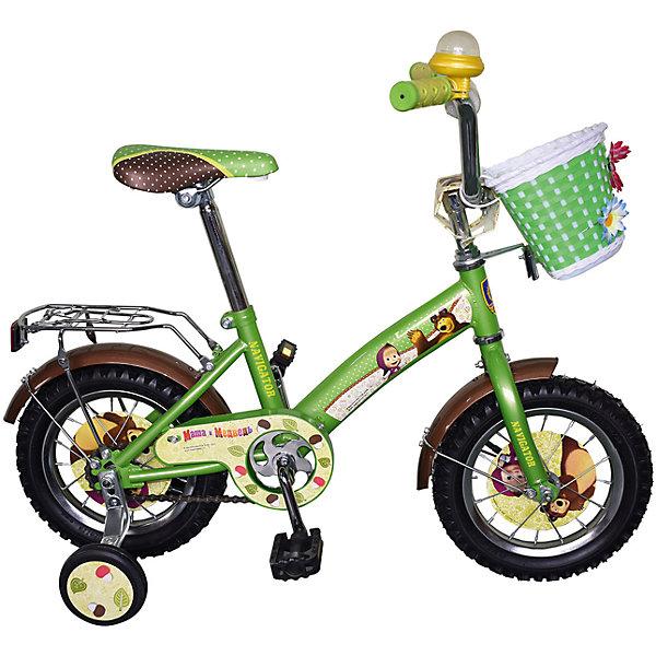 Велосипед, 12, Маша и Медведь, NavigatorИгрушки<br>Велосипед, 12, Маша и Медведь, Navigator.<br><br>Характеристики:<br><br>• Для детей в возрасте: от 3 до 6 лет<br>• Материал: металл, пластик<br>• Цвет: зеленый<br>• Размер велосипеда: 70х37х67 см.<br>• Диаметр колес: 30 см.<br>• Односоставной шатун<br>• Размер упаковки: 72х32х17 см.<br>• Вес: 9,2 кг.<br><br>Детский двухколесный велосипед KITE-тип со страховочными колесами Маша и Медведь от производителя Navigator предназначен для активных и подвижных детей. Рама велосипеда изготовлена из металла приятного зеленого цвета. Высоту сиденья велосипеда можно регулировать по росту ребенка. Пластиковые педали удобны для детских ног. Дополнительные страховочные колеса особенно удобны для тех детей, которые только учатся ездить на двухколесном велосипеде. Основные колеса с камерами из резины обеспечивает хорошее сцепление с поверхностью. Стальные обода на колесах защитят вашего маленького велосипедиста от пыли и грязи. Цепь велосипеда закрыта специальной декоративной накладкой. На корпусе и дисках всех 4 колес имеются изображения любимых героев популярного детского мультфильма Маша и Медведь, что, несомненно, привлечет внимание ребенка. На передней части велосипеда расположена пластиковая корзинка, украшенная цветами. В корзинку можно положить мелкие вещи, необходимые для прогулки. Сзади имеется дополнительное металлическое сиденье, которое также можно использовать как багажник. Руль велосипеда оснащен пластиковыми ручками с мягкими защитными накладками. Также на руле имеется звонок, в который можно звонить, предупреждая о приближении. Для удобства велосипед оснащен задним ножным тормозом. Подарить малышу такой велосипед - значит, помочь развитию ребенка. Он способствует скорейшему развитию способности ориентироваться в пространстве, развивает физические способности, мышление и ловкость. Помимо этого, кататься на нём - очень увлекательное занятие!<br><br>Велосипед, 12, Маша и Медведь, Navigator можно купить в нашем интернет-м