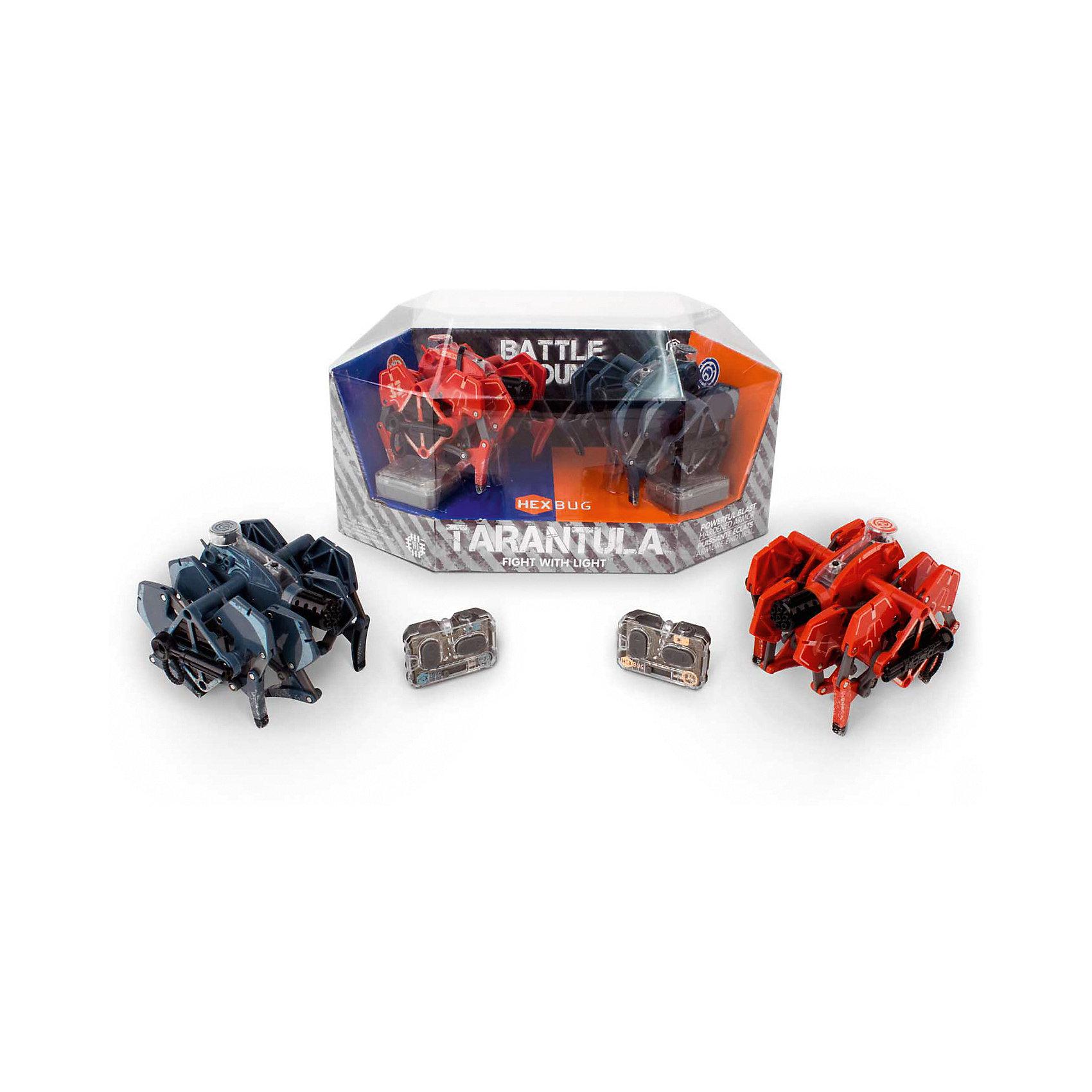 Набор из двух микро-роботов Battle Tarantula, HexbugИнтерактивные игрушки для малышей<br>Набор из двух микро-роботов Battle Tarantula, Hexbug (Хексбаг)<br><br>Характеристики:<br><br>• световые и звуковые эффекты<br>• автоматическое отключение<br>• батарейки: LR44 - 5 шт.<br>• материал: пластик, металл<br>• размер упаковки: 20х30х15 см<br>• вес: 415 грамм<br><br>Микророботы Battle Tarantula понравятся каждому любителю захватывающих сражений. Прочная конструкция робота способна выдержать удар самого сильного противника. Игрушки оснащены световыми и звуковыми эффектами. После десяти попаданий по противнику робот автоматически отключается. Выключите и включите робота, чтобы он снова ринулся в бой. В набор входят красный и синий робот. Наблюдать за сражений двух сильных противников очень интересно!<br><br>Набор из двух микро-роботов Battle Tarantula, Hexbug (Хексбаг) вы можете купить в нашем интернет-магазине.<br><br>Ширина мм: 160<br>Глубина мм: 165<br>Высота мм: 300<br>Вес г: 411<br>Возраст от месяцев: 36<br>Возраст до месяцев: 2147483647<br>Пол: Унисекс<br>Возраст: Детский<br>SKU: 5507193
