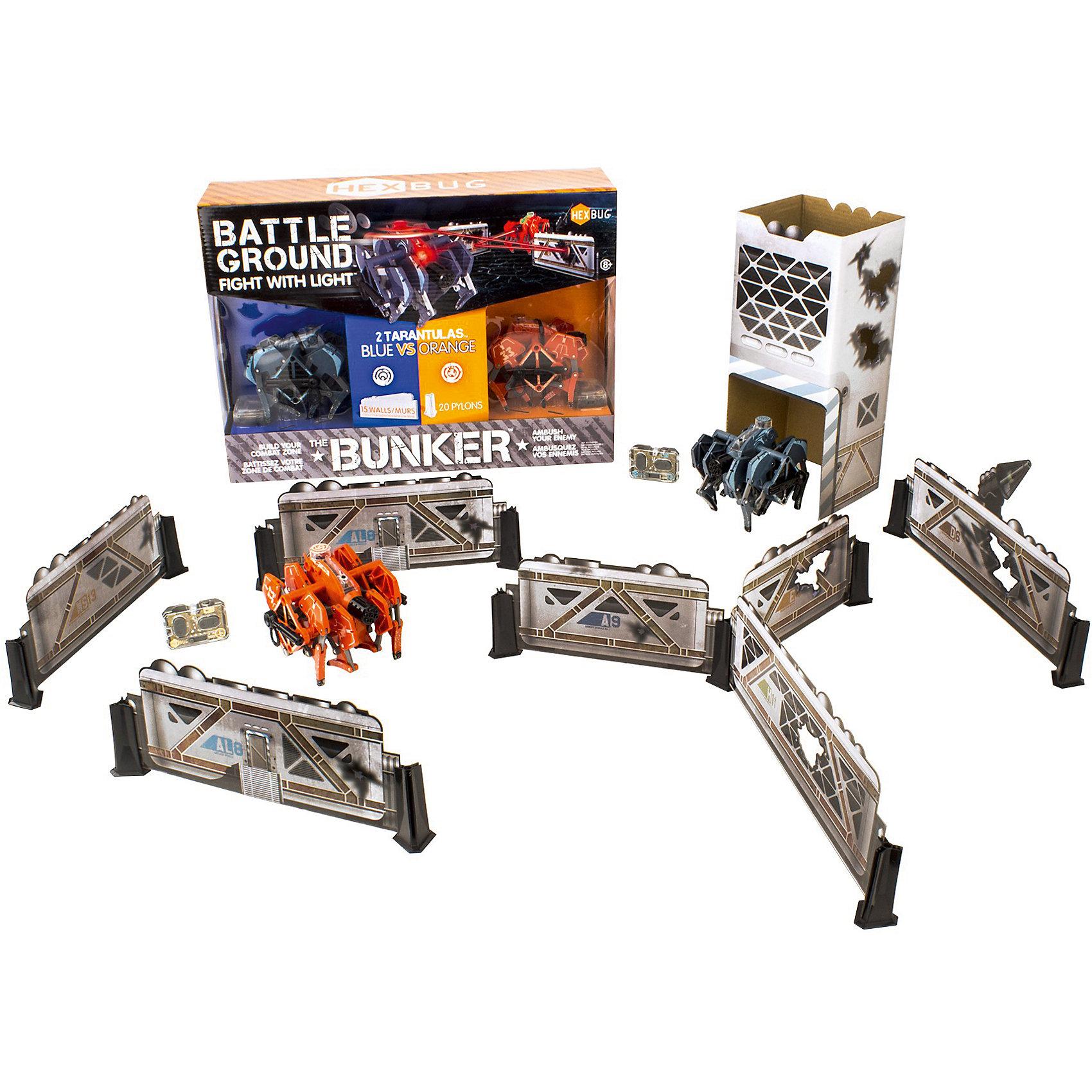 Набор из двух микро-роботов Battle Bunker Tarantula, HexbugИнтерактивные игрушки для малышей<br>Набор из двух микро-роботов Battle Bunker Tarantula, Hexbug (Хексбаг)<br><br>Характеристики:<br><br>• световые и звуковые эффекты<br>• автоматическое отключение<br>• батарейки: LR44 - 5 шт.<br>• материал: пластик, металл<br>• размер упаковки: 41х30х12 см<br>• вес: 765 грамм<br><br>Микророботы Battle Tarantula понравятся каждому любителю захватывающих сражений. Прочная конструкция робота способна выдержать удар самого сильного противника. Игрушки оснащены световыми и звуковыми эффектами. После десяти попаданий по противнику робот автоматически отключается. Выключите и включите робота, чтобы он снова ринулся в бой. В набор входят красный, синий роботы и аксессуары для постройки военной территории. Наблюдать за сражений двух сильных противников очень интересно. А башни и стены сделают игру еще более захватывающей!<br><br>Набор из двух микро-роботов Battle Bunker Tarantula, Hexbug (Хексбаг) можно купить в нашем интернет-магазине.<br><br>Ширина мм: 280<br>Глубина мм: 110<br>Высота мм: 390<br>Вес г: 935<br>Возраст от месяцев: 36<br>Возраст до месяцев: 2147483647<br>Пол: Унисекс<br>Возраст: Детский<br>SKU: 5507194