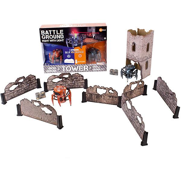 Набор из двух боевых спайдеров Tower Set, HexbugИнтерактивные игрушки для малышей<br>Набор из двух боевых спайдеров Tower Set, Hexbug (Хексбаг)<br><br>Характеристики:<br><br>• передвигается в любых направлениях<br>• лазерный луч<br>• автоматическое отключение<br>• двухканальное управление<br>• радиус действия: 5 метров<br>• для работы необходимы батарейки AG13 - 5 шт.<br>• размер: 7,7х9,1 см<br><br>Боевые Спайдеры от Hexbug позволят вам устроить увлекательные сражения. Робот передвигается в разных направлениях и стреляет по указанному направлению. Этот Спайдер даст отпор любому противнику! В набор входят 2 робота и детали для постройки стен и башни. Роботы будут передвигаться по полю, стараясь укрыться от атак противника. После десяти попаданий робот автоматически отключается. Чтобы игрушка снова начала работать, нужно отключить и заново включить ее. Устройте настоящее сражение роботов у себя дома!<br><br>Набор из двух боевых спайдеров Tower Set, Hexbug (Хексбаг) можно купить в нашем интернет-магазине.<br><br>Ширина мм: 280<br>Глубина мм: 110<br>Высота мм: 390<br>Вес г: 900<br>Возраст от месяцев: 36<br>Возраст до месяцев: 2147483647<br>Пол: Унисекс<br>Возраст: Детский<br>SKU: 5507195