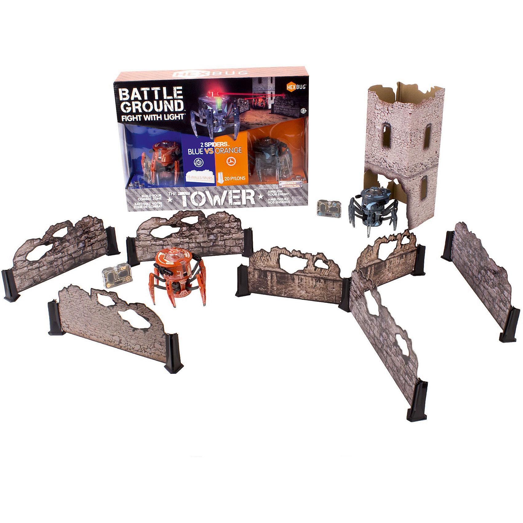 Набор из двух боевых спайдеров Tower Set, HexbugИнтерактивные животные<br>Набор из двух боевых спайдеров Tower Set, Hexbug (Хексбаг)<br><br>Характеристики:<br><br>• передвигается в любых направлениях<br>• лазерный луч<br>• автоматическое отключение<br>• двухканальное управление<br>• радиус действия: 5 метров<br>• для работы необходимы батарейки AG13 - 5 шт.<br>• размер: 7,7х9,1 см<br><br>Боевые Спайдеры от Hexbug позволят вам устроить увлекательные сражения. Робот передвигается в разных направлениях и стреляет по указанному направлению. Этот Спайдер даст отпор любому противнику! В набор входят 2 робота и детали для постройки стен и башни. Роботы будут передвигаться по полю, стараясь укрыться от атак противника. После десяти попаданий робот автоматически отключается. Чтобы игрушка снова начала работать, нужно отключить и заново включить ее. Устройте настоящее сражение роботов у себя дома!<br><br>Набор из двух боевых спайдеров Tower Set, Hexbug (Хексбаг) можно купить в нашем интернет-магазине.<br><br>Ширина мм: 280<br>Глубина мм: 110<br>Высота мм: 390<br>Вес г: 900<br>Возраст от месяцев: 36<br>Возраст до месяцев: 2147483647<br>Пол: Унисекс<br>Возраст: Детский<br>SKU: 5507195