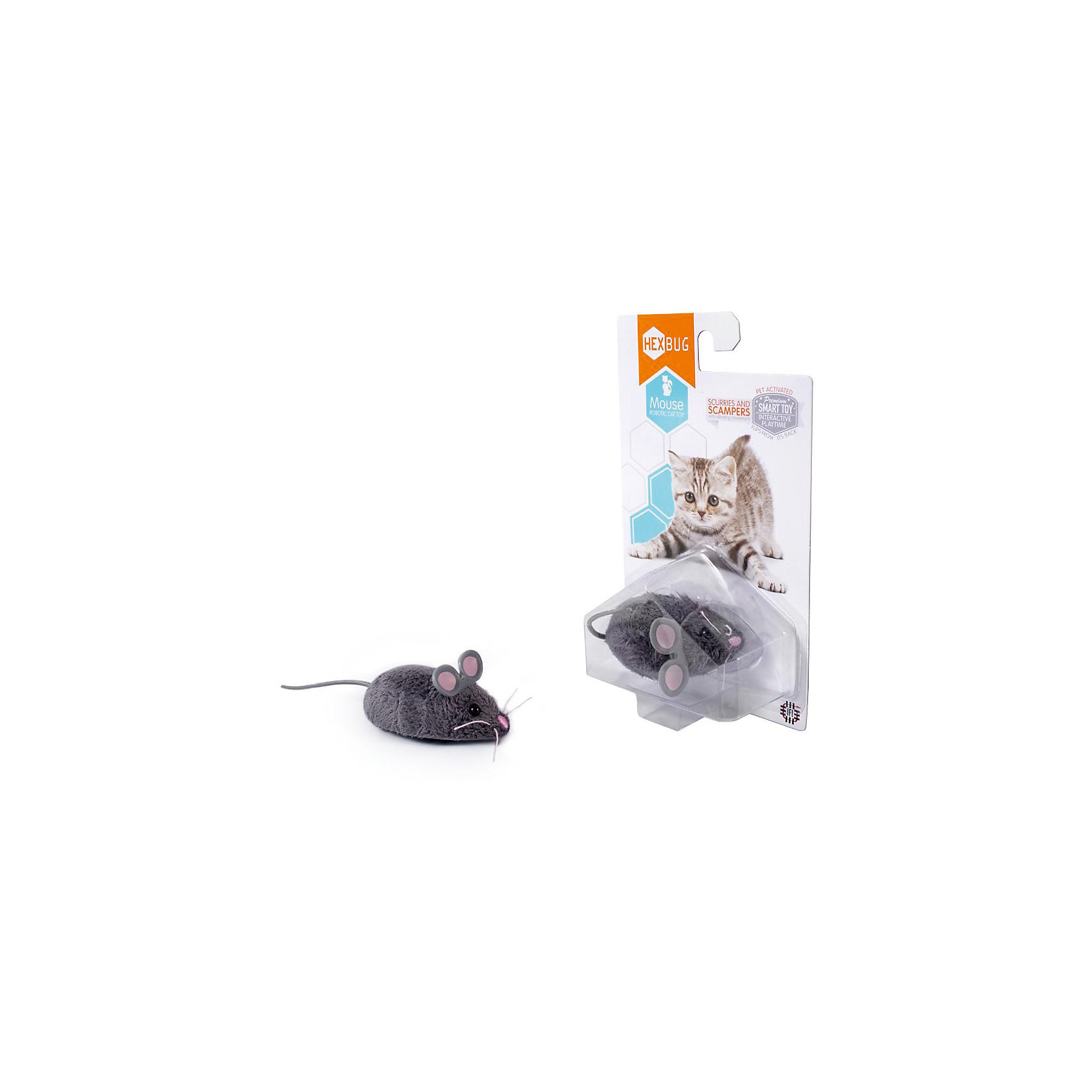 Микро-робот Mouse Cat Toy, HexbugПрочие интерактивные игрушки<br>Микро-робот Mouse Cat Toy, Hexbug (Хексбаг)<br><br>Характеристики:<br><br>• устойчив к механическим повреждениям<br>• 2 режима работы<br>• автоматическое отключение<br>• материал: пластик, металл, искусственная шерсть<br>• батарейки: LR44 - 2 Шт.<br>• размер: 6,5 см<br>• размер упаковки: 17х9х4 см<br>• вес: 80 грамм<br><br>Микро-робот Mouse Cat Toy порадует вас и вашего питомца своей ловкостью и энергичностью. Робот выполнен в виде маленькой мышки, а его детали настолько реалистичны, что вы с трудом отличите Mouse Can Toy от настоящей мышки. Робот передвигается в разных направлениях, есть два режима игры. В первом режиме робот двигается непрерывно, а во втором - останавливается. После пяти минут работы мышка отключается. Чтобы снова включить робота, достаточно дотронуться для него. Микро-робот Mouse Can Toy - отличное развлечение для всей семьи!<br><br>Микро-робота Mouse Cat Toy, Hexbug (Хексбаг) вы можете купить в нашем интернет-магазине.<br><br>Ширина мм: 160<br>Глубина мм: 40<br>Высота мм: 100<br>Вес г: 37<br>Возраст от месяцев: 36<br>Возраст до месяцев: 2147483647<br>Пол: Унисекс<br>Возраст: Детский<br>SKU: 5507200