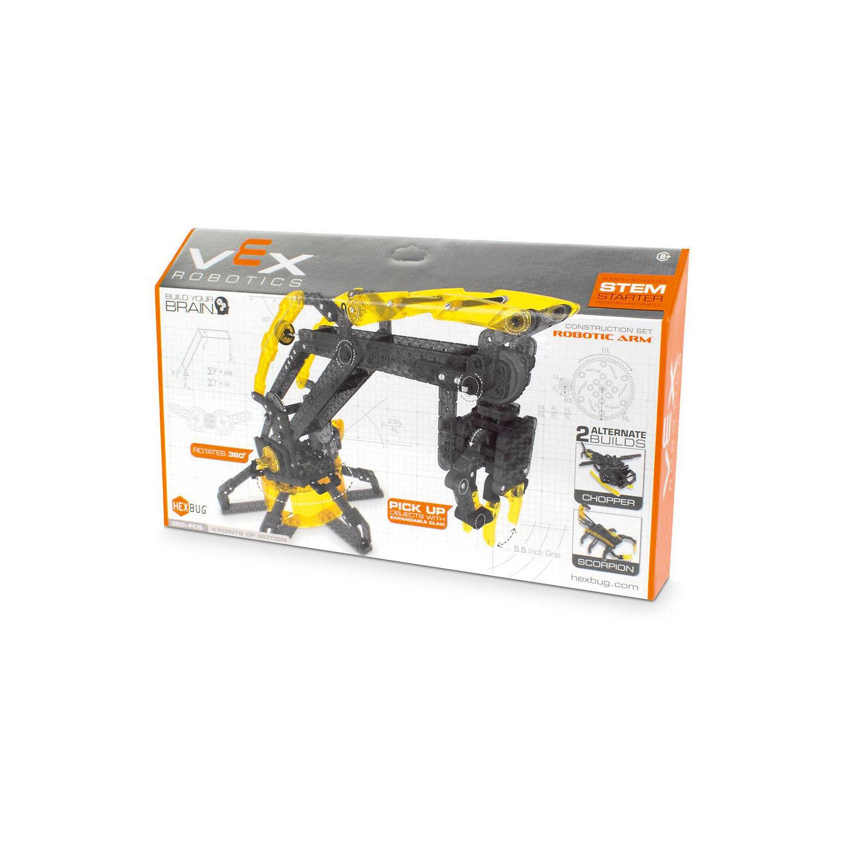 Конструктор VEX Robotic Arm, HexbugПластмассовые конструкторы<br>Конструктор VEX Robotic Arm, Hexbug (Хексбаг)<br><br>Характеристики:<br><br>• моторизированная модель манипулятора робота<br>• может передвигать предметы<br>• количество элементов: 350<br>• материал: пластик, металл<br><br>Конструктор VEX Robotic Arm наглядно познакомит ребенка с основами механики. Из 330 деталей вы сможете собрать моторизированную модель манипулятора робота. Управляя роботом, вы сможете поднять и переместить небольшие предметы. Конструктор собирается вручную, без применения инструментов и клея. С такой увлекательной игрушкой ребенок никогда не заскучает!<br><br>Конструктор VEX Robotic Arm, Hexbug (Хексбаг) можно купить в нашем интернет-магазине.<br><br>Ширина мм: 270<br>Глубина мм: 60<br>Высота мм: 460<br>Вес г: 1260<br>Возраст от месяцев: 36<br>Возраст до месяцев: 2147483647<br>Пол: Унисекс<br>Возраст: Детский<br>SKU: 5507203