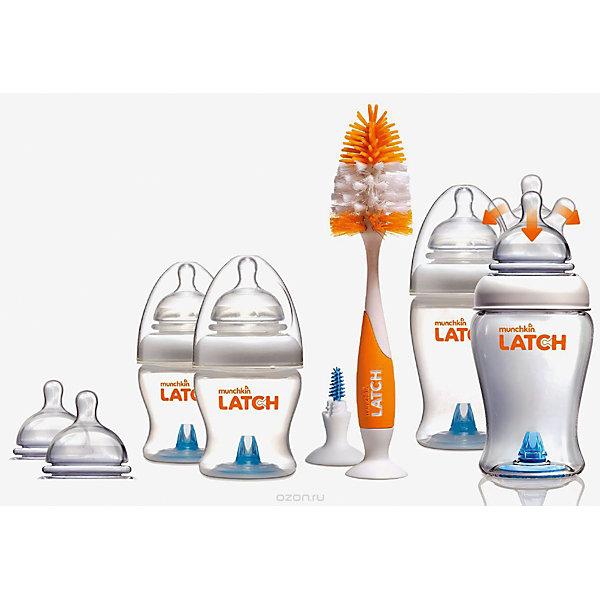 Набор бутылочек  для кормления LATCH , Munchkin110 - 180 мл.<br>Набор бутылочек  для кормления LATCH , Munchkin (Манчкин)<br><br>Характеристики:<br><br>• всё необходимое для правильного кормления малыша<br>• антиколиковая соска<br>• в комплекте: 2 бутылочки 120 мл, 2 бутылочки 240 мл, 4 соски 0+, 2 соски 3+, ершик для бутылочек и сосок<br>• материал: полипропилен, силикон<br>• размер упаковки: 16х24х15 см<br>• вес: 650 грамм<br><br>Набор бутылочек LATCH - надежный помощник мамы новорожденного малыша. В комплект входят две бутылочки объемом 120 мл, две бутылочки объемом 240 мл и ершик для бутылочек и сосок. Бутылочки оснащены антиколиковым клапаном и  усовершенствованной формой соски. Гибкое основание в виде гармошки поможет малышу есть с комфортом даже при смене положения тела. При этом форма соски максимально имитирует кормление из материнской груди.  Антиколиковый клапан и специальная форма соски предотвратят заглатывание лишнего воздуха, способствующего возникновению коликов. <br><br>Ершики легко очистят бутылочки от загрязнения и уберут остатки пищи. Большой ершик с силиконовым основанием предназначен для очищения бутылочек.  Маленький ершик - для антиколикового клапана. Оба ершика имеют присоски у основания.<br><br>Набор бутылочек  для кормления LATCH , Munchkin (Манчкин) вы можете купить в нашем интернет-магазине.<br>Ширина мм: 150; Глубина мм: 240; Высота мм: 160; Вес г: 650; Возраст от месяцев: 0; Возраст до месяцев: 36; Пол: Унисекс; Возраст: Детский; SKU: 5507245;