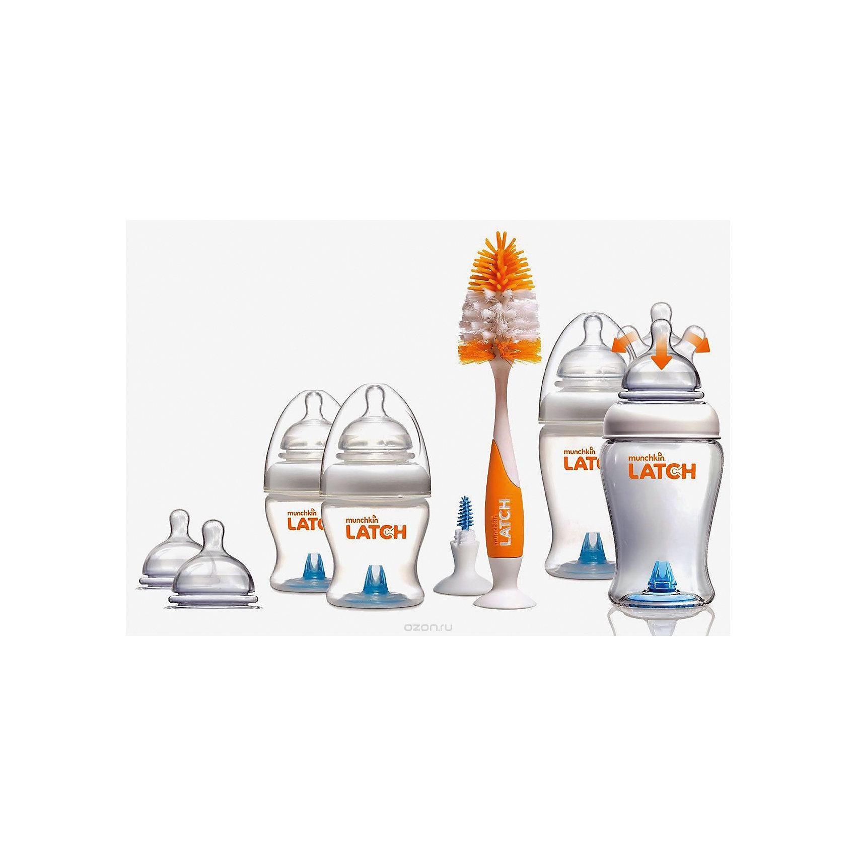 Набор бутылочек  для кормления LATCH , Munchkin110 - 180 мл.<br>Набор бутылочек  для кормления LATCH , Munchkin (Манчкин)<br><br>Характеристики:<br><br>• всё необходимое для правильного кормления малыша<br>• антиколиковая соска<br>• в комплекте: 2 бутылочки 120 мл, 2 бутылочки 240 мл, 4 соски 0+, 2 соски 3+, ершик для бутылочек и сосок<br>• материал: полипропилен, силикон<br>• размер упаковки: 16х24х15 см<br>• вес: 650 грамм<br><br>Набор бутылочек LATCH - надежный помощник мамы новорожденного малыша. В комплект входят две бутылочки объемом 120 мл, две бутылочки объемом 240 мл и ершик для бутылочек и сосок. Бутылочки оснащены антиколиковым клапаном и  усовершенствованной формой соски. Гибкое основание в виде гармошки поможет малышу есть с комфортом даже при смене положения тела. При этом форма соски максимально имитирует кормление из материнской груди.  Антиколиковый клапан и специальная форма соски предотвратят заглатывание лишнего воздуха, способствующего возникновению коликов. <br><br>Ершики легко очистят бутылочки от загрязнения и уберут остатки пищи. Большой ершик с силиконовым основанием предназначен для очищения бутылочек.  Маленький ершик - для антиколикового клапана. Оба ершика имеют присоски у основания.<br><br>Набор бутылочек  для кормления LATCH , Munchkin (Манчкин) вы можете купить в нашем интернет-магазине.<br><br>Ширина мм: 150<br>Глубина мм: 240<br>Высота мм: 160<br>Вес г: 650<br>Возраст от месяцев: 0<br>Возраст до месяцев: 36<br>Пол: Унисекс<br>Возраст: Детский<br>SKU: 5507245