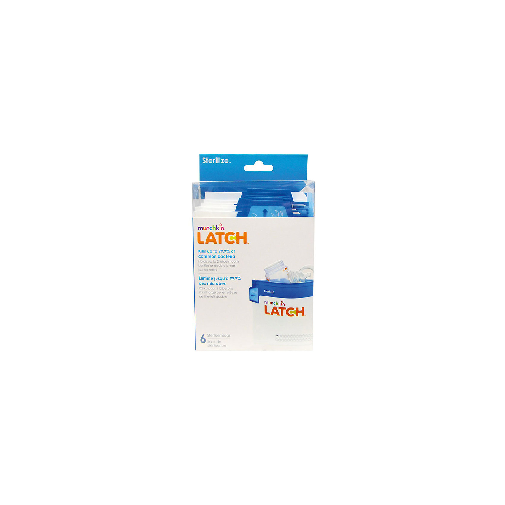 Пакеты для стерилизации LATCH , 6шт., MunchkinМолокоотсосы и аксессуары<br>Пакеты для стерилизации LATCH , 6шт., Munchkin (Манчкин)<br><br>Характеристики:<br><br>• многоразовые пакеты для стерилизации бутылочек и сосок<br>• сетка для отметок<br>• стерилизация за 90 секунд<br>• ручка Cool-Touch<br>• в комплекте: 6 пакетов<br>• размер упаковки: 19х10х7 см<br>• вес: 100 грамм<br><br>Пакеты LATCH предназначены для быстрой, удобной стерилизации бутылочек, сосок и деталей молокоотсоса. Для стерилизации нужно положить части бутылочки  в пакет, залить их водой, а затем поместить в микроволновую печь на 90 секунд. Ручка Cool-Touch всегда остается холодной, чтобы вы не обожглись при использовании пакетов. Каждый пакет можно использовать 30 раз. С лицевой стороны находится удобная сетка, на которой можно делать отметки об использовании. Лента с бегунком позволит вам легко и надежно закрыть пакет перед использованием.<br><br>Пакеты для стерилизации LATCH , 6шт., Munchkin (Манчкин) можно купить в нашем интернет-магазине.<br><br>Ширина мм: 70<br>Глубина мм: 100<br>Высота мм: 190<br>Вес г: 100<br>Возраст от месяцев: -2147483648<br>Возраст до месяцев: 2147483647<br>Пол: Унисекс<br>Возраст: Детский<br>SKU: 5507247
