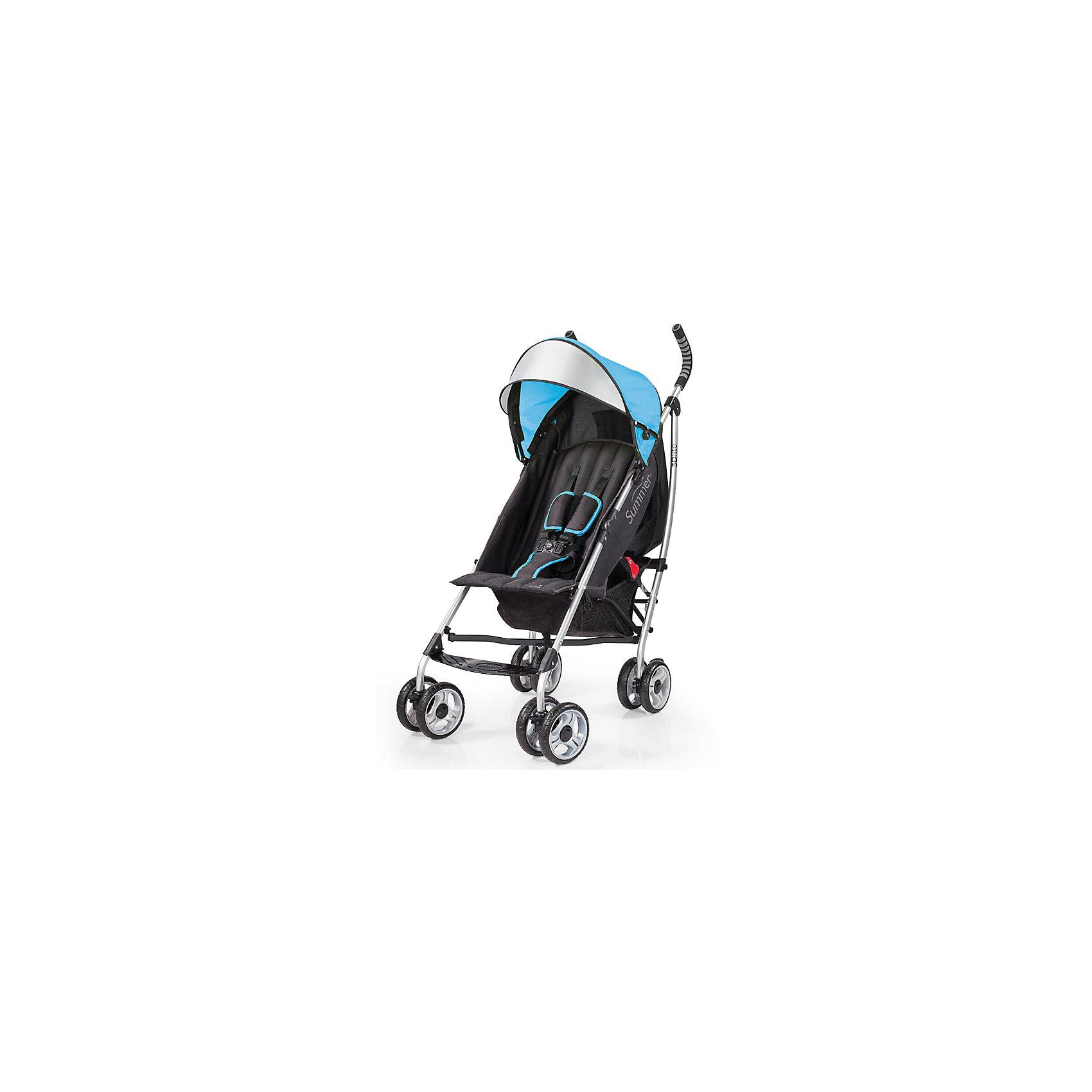 Коляска-трость 3D Lite, Summer Infant, голубойКомпактная, удобная коляска-трость 3D-Lite Stroller от компании Summer Infant!<br>Это долговечная коляска, которая имеет легкий и стильный алюминиевый каркас.<br><br>Данная модель является одной из самых легких и самых многофункциональных колясок на рынке. Рама легко складывается, есть ремень для переноски, идеально подходит для летних путешествий!<br><br>Съемный навес с откидным козырьком будет надежно защищать ребенка от солнца. Кроме того, удобное широкое сиденье коляски и наличие функции трансформирования в лежачую позицию означают, что ваш ребенок всегда будет чувствовать себя комфортно. Большие колеса позволяют коляске ездить по любой поверхности, а 5-точечный ремень обеспечивает максимальную безопасность для вашего малыша. Задний карман - это удобное место для хранения мелких предметов, например, ключей, а в большую корзину, легко помещаются крупногабаритные вещи.<br><br>Особенности:<br>Прочная, легкая, стильная рама<br>Удобное сидение<br>Необыкновенно маневренная<br>8 - колесная (по 4 сдвоенных колеса высокой проходимости)<br>Блокировка задних колес<br>3 положения спинки<br>5-точечный ремень безопасности с мягкими накладками (регулируются по мере роста ребенка)<br>Корзина хранения<br>Большой навес с откидным козырьком (защищает от 99,9% солнечных лучей)<br>Вместительный задний карман для хранения<br>Ремень для переноски<br>Для детей от 6-36 месяцев (примерно до 25 кг)<br><br>Ширина мм: 1050<br>Глубина мм: 260<br>Высота мм: 260<br>Вес г: 7500<br>Возраст от месяцев: 6<br>Возраст до месяцев: 36<br>Пол: Унисекс<br>Возраст: Детский<br>SKU: 5507983