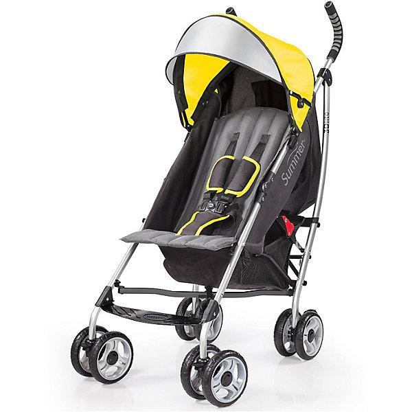 Коляска-трость Summer Infant 3D Lite, желтыйКоляски-трости<br>Характеристики коляски:<br><br>• спинка коляски регулируется в 3-х позициях, угол наклона 165 градусов;<br>• капюшон оснащен широким солнцезащитным корызьком;<br>• имеется кармашек для мелких аксессуаров;<br>• 5-ти точечные ремни безопасности с мягкими накладками надежно удерживают ребенка в прогулочном блоке;<br>• пластиковая подножка для подросшего ребенка;<br>• корзина для покупок, нагрузка 4,5 кг;<br>• подстаканник в комплекте;<br>• сдвоенные колеса, передние колеса оснащены поворотным механизмом с блокировкой, задние колеса – ножным тормозом;<br>• для переноски коляски в сложенном виде используется плечевой ремень;<br>• фиксатор от раскладывания;<br>• коляска складывается компактной «тростью»;<br>• материал рамы - облегченный алюминий, материал прогулочного блока - полиэстер.<br><br>Обратите внимание: <br><br>• коляска без бампера;<br>• подножка имеет одно положение;<br>• ручки коляски находятся на фиксированной высоте.<br><br>Размер коляски: 69х46х109 см<br>Размер коляски в сложенном виде: 105х26х26 см<br>Ширина сиденья: 34 см<br>Диаметр колес: 15 см<br>Максимальный вес ребенка: 22,5 кг<br>Вес коляски: 7,2 кг<br>Вес в упаковке: 7,5 кг<br><br>Легкая коляска-трость 3D Lite оснащена регулируемой спинкой и глубоким капюшоном. К корзине для покупок имеется открытый доступ даже при разложенной спинке коляски. На капюшоне расположен карман для телефона, ключей, пачки салфеток, кармашек - под клапаном на липучке. В сложенном виде коляску можно переносить в подвесном виде благодаря плечевому ремню. <br><br>Коляску-трость 3D Lite, Summer Infant, желтую можно купить в нашем интернет-магазине.<br>Ширина мм: 1050; Глубина мм: 260; Высота мм: 260; Вес г: 7500; Возраст от месяцев: 6; Возраст до месяцев: 36; Пол: Унисекс; Возраст: Детский; SKU: 5507984;
