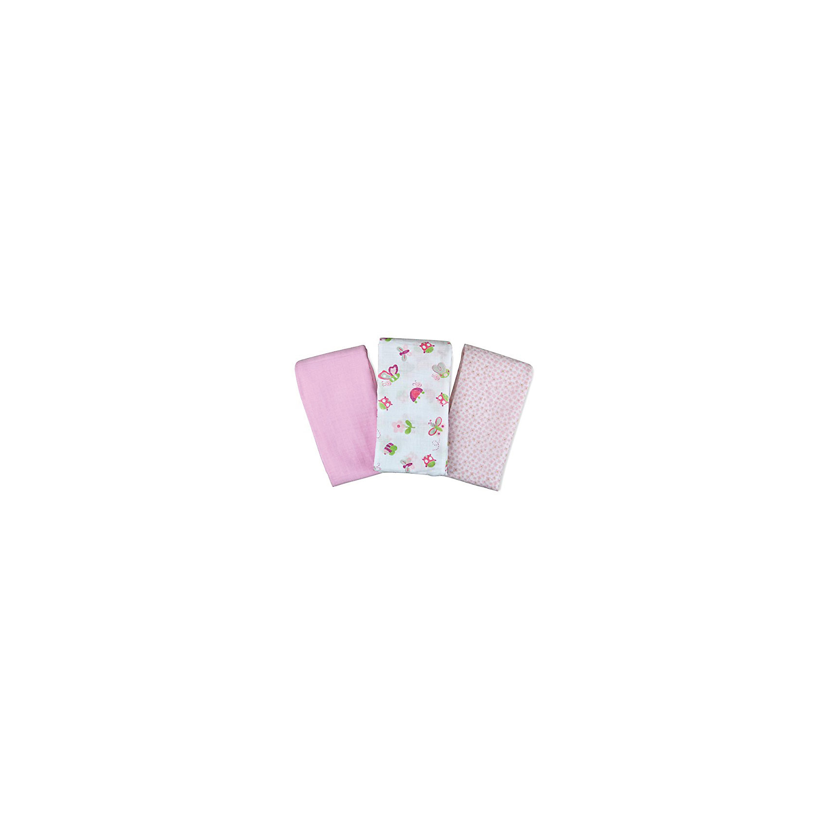 Набор пеленок Muslin Swaddleme, 3 шт.,Summer Infant, розовый/бабочкиНежное натуральное волокно пеленок обеспечивает свободное движение воздуха и мягкость при соприкосновении с кожей малыша.<br><br>Это универсальные пеленки, их можно использовать не только как пеленки, но и как летнее одеяло, простынь, покрытие для пеленального столика дома и в мед. учреждениях, как ткань при срыгивание, навес для коляски и как комплект для конверта на выписку.<br><br>Мягкие и дышащие <br>Веселые расцветки для детей<br>Состав: 100% муслин (тонкотканный хлопок)<br>Размер 102х102 см<br><br>Ширина мм: 205<br>Глубина мм: 320<br>Высота мм: 40<br>Вес г: 430<br>Возраст от месяцев: 0<br>Возраст до месяцев: 3<br>Пол: Женский<br>Возраст: Детский<br>SKU: 5508007