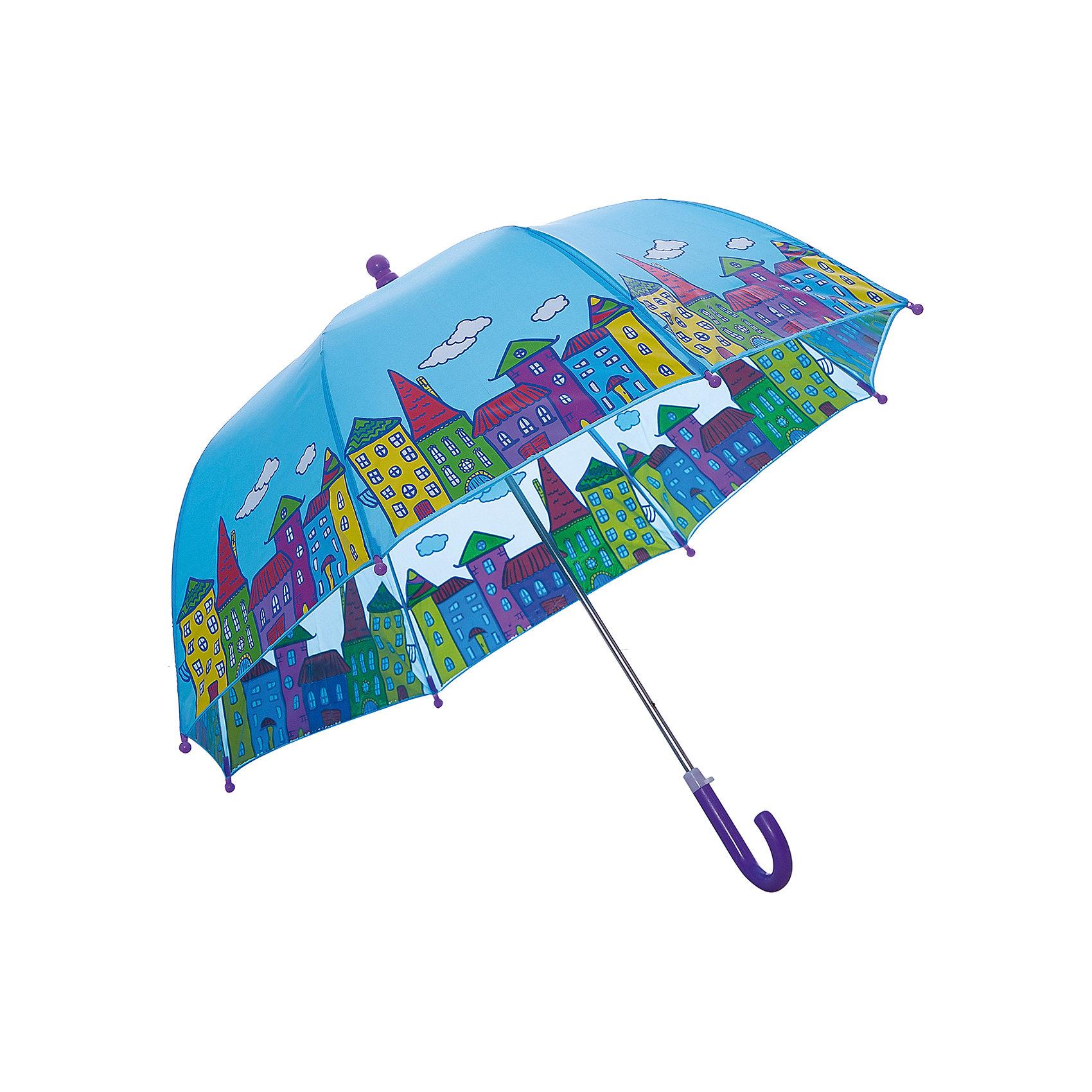 Зонт детский Домики, 46 см.Зонты детские<br>Зонт детский Домики, 46 см., Mary Poppins (Мэри Поппинс)<br><br>Характеристики:<br><br>• устойчив к ветру<br>• система складывания: механическая<br>• прочное крепление купола<br>• радиус купола: 46 см<br>• длина ручки: 57 см<br>• пластиковые наконечники на спицах<br>• материал: полиэстер, металл, пластик<br>• размер упаковки: 62х8х5 см<br><br>Даже дождик - не повод грустить дома, если у вас есть красивый зонтик! Зонт Домики поднимет настроение красивым рисунком с изображением домиков и защит от дождя и ветра. Купол изделия надежно крепится к металлическому каркасу, что делает его устойчивым к сильному ветру. Закругленную ручку удобно держать в руке. Спицы зонтика имеют закругленные наконечники из пластика, выполняющие защитную функцию.<br><br>Зонт детский Домики, 46 см., Mary Poppins (Мэри Поппинс) вы можете купить в нашем интернет-магазине.<br><br>Ширина мм: 615<br>Глубина мм: 500<br>Высота мм: 800<br>Вес г: 220<br>Возраст от месяцев: 36<br>Возраст до месяцев: 2147483647<br>Пол: Унисекс<br>Возраст: Детский<br>SKU: 5508505