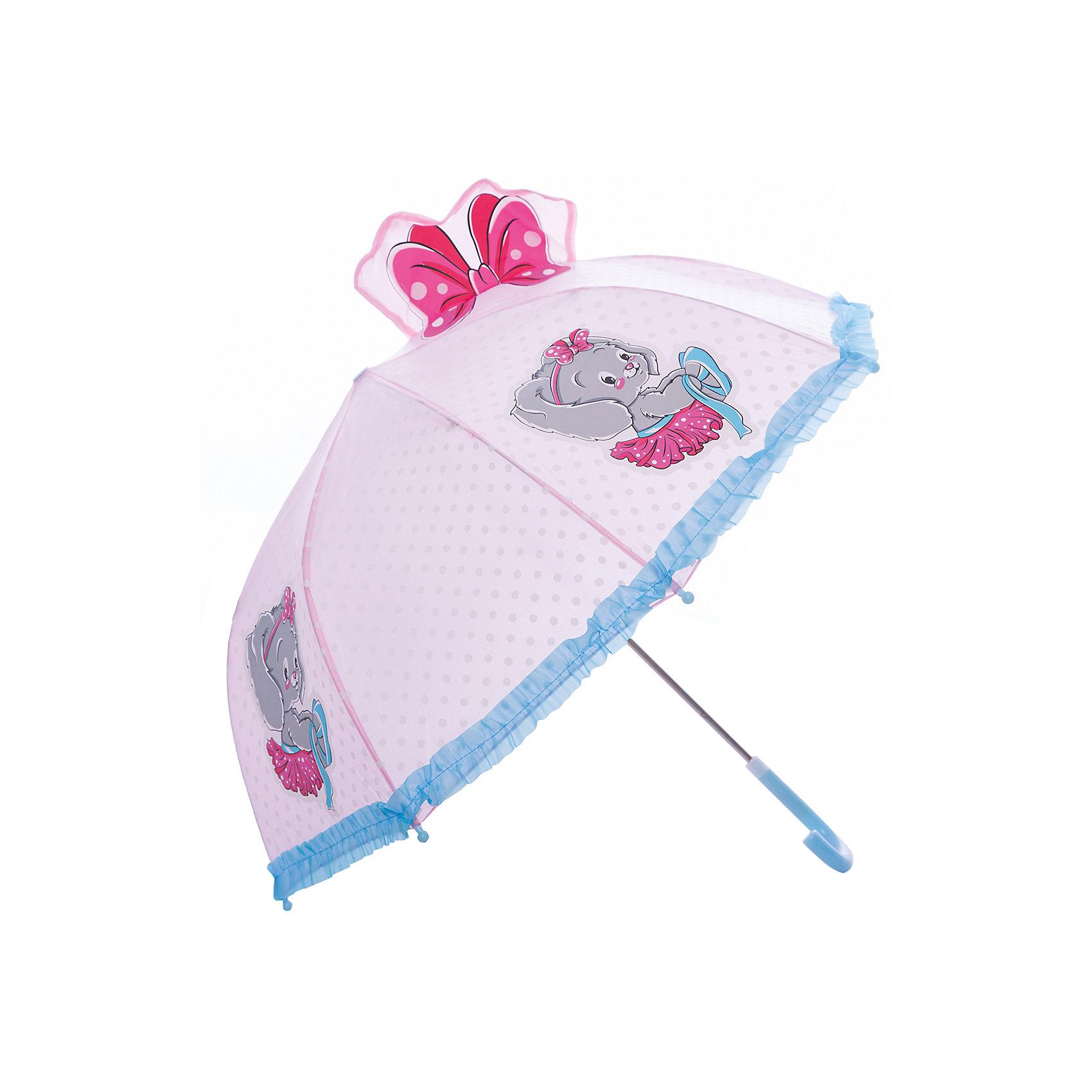 Зонт детский Зайка, 46 см.Яркий и удобный зонтик для малышей Зайка. Радиус: 46 см. Длина ручки: 57 см.<br><br>Ширина мм: 580<br>Глубина мм: 400<br>Высота мм: 400<br>Вес г: 250<br>Возраст от месяцев: 36<br>Возраст до месяцев: 2147483647<br>Пол: Женский<br>Возраст: Детский<br>SKU: 5508509