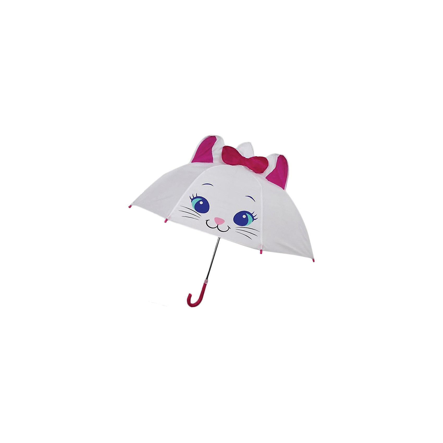 Зонт детский Киска, 46см.Зонты детские<br>Детский зонтик-тросточка Киска защитит ребенка от непогоды, потому что не боится дождя и ветра благодаря прочному креплению купола к каркасу. Изогнутая ручка позволяет крепко держать зонт в руках. Технические характеристики: Механическая система складывания; Концы спиц закрыты пластиковыми шариками; Пластиковый фиксатор на стержне зонтика; Радиус купола - 46 см.<br><br>Ширина мм: 580<br>Глубина мм: 600<br>Высота мм: 800<br>Вес г: 250<br>Возраст от месяцев: 36<br>Возраст до месяцев: 2147483647<br>Пол: Женский<br>Возраст: Детский<br>SKU: 5508511