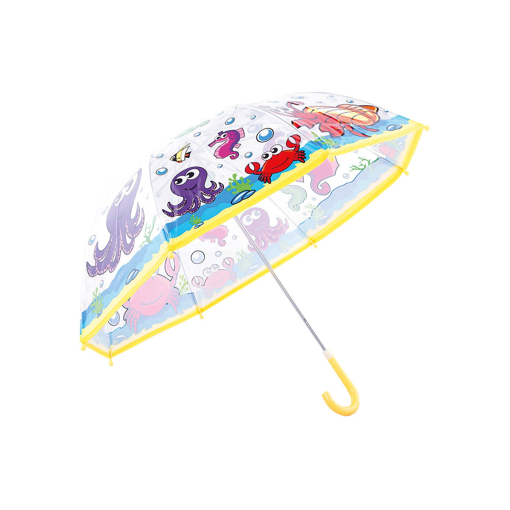 Зонт детский Подводный мир, 46 см.Зонты детские<br>Детский зонтик-тросточка с забавным принтом защитит ребенка от непогоды. Зонтик не боится дождя и ветра благодаря прочному креплению купола к каркасу. <br> Технические характеристики: <br> Механическая система складывания; <br> Концы спиц закрыты пластиковыми шариками; <br> Пластиковый фиксатор на стержне зонтика;  <br> Радиус купола - 46 см.<br><br>Ширина мм: 600<br>Глубина мм: 200<br>Высота мм: 700<br>Вес г: 250<br>Возраст от месяцев: 36<br>Возраст до месяцев: 2147483647<br>Пол: Унисекс<br>Возраст: Детский<br>SKU: 5508519