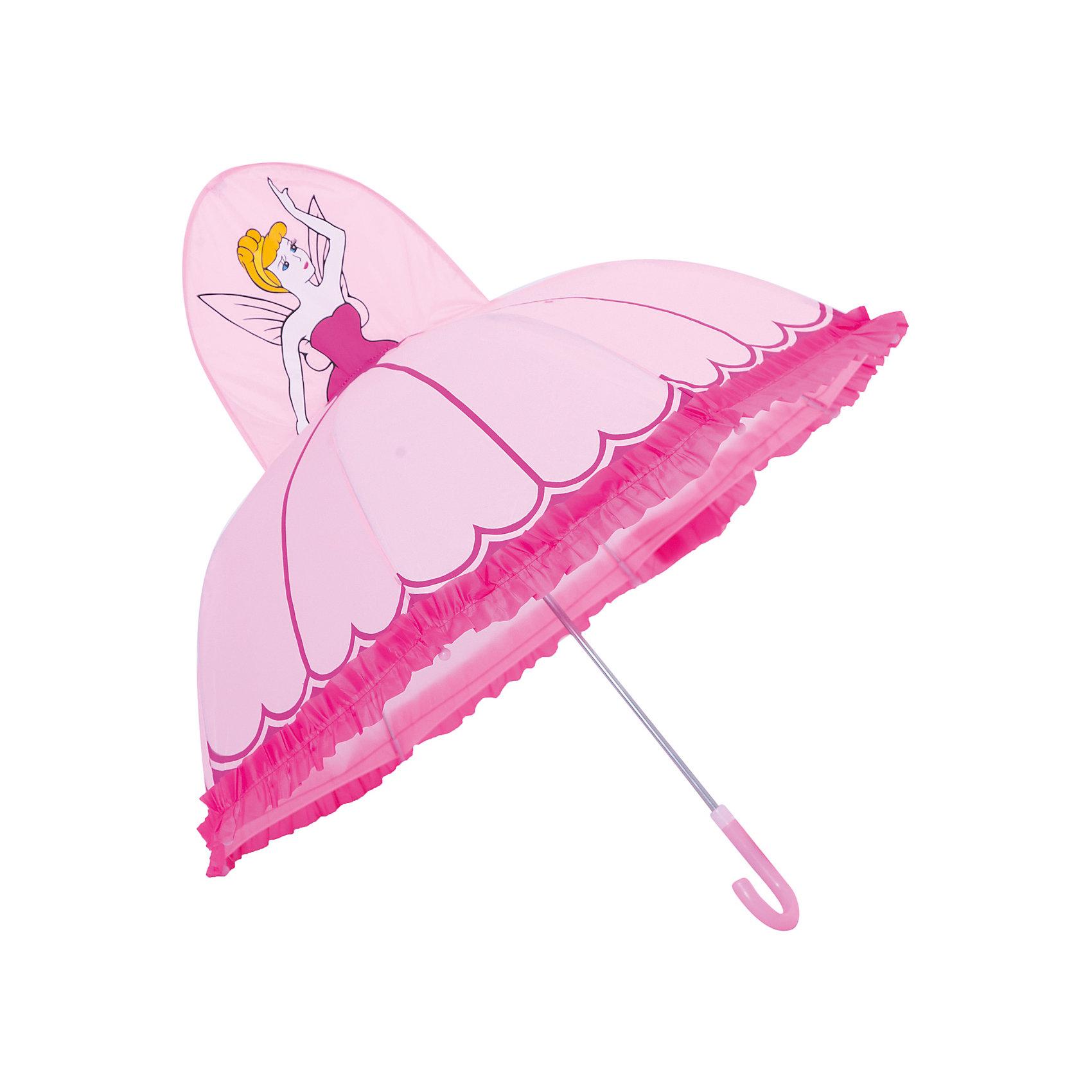 Зонт детский Фея, 46см.Зонты детские<br>Детский зонтик-тросточка Фея защитит ребенка от непогоды. Зонтик не боится дождя и ветра благодаря прочному креплению купола к каркасу. Технические характеристики: Механическая система складывания; Концы спиц закрыты пластиковыми шариками; Пластиковый фиксатор на стержне зонтика; Радиус купола - 46 см.<br><br>Ширина мм: 600<br>Глубина мм: 200<br>Высота мм: 700<br>Вес г: 250<br>Возраст от месяцев: 36<br>Возраст до месяцев: 2147483647<br>Пол: Женский<br>Возраст: Детский<br>SKU: 5508527