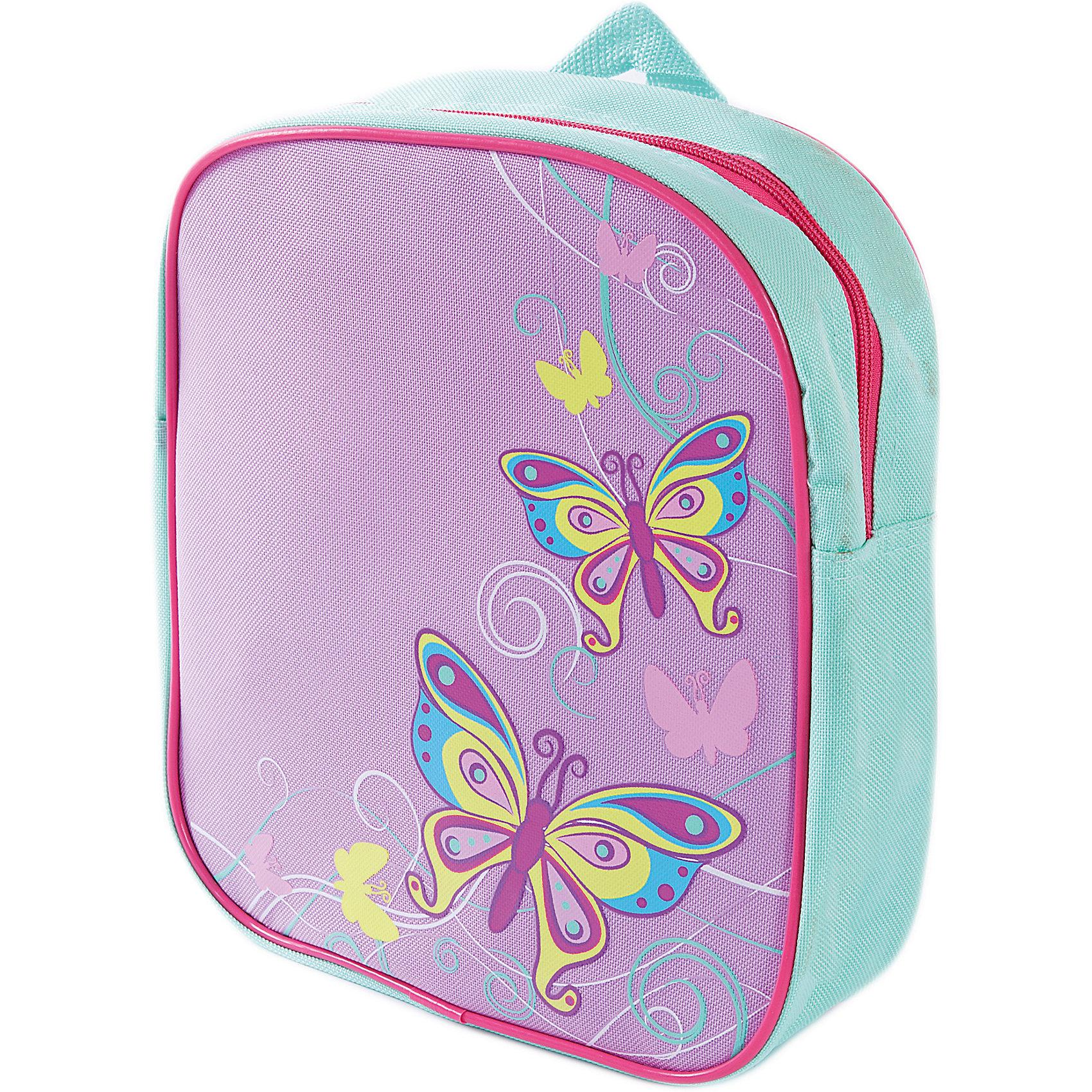 Рюкзак Бабочки 24*8*27см.Детские рюкзаки<br>Рюкзак Бабочки выполнен в сочетании нежных фиолетового, бирюзового и других цветов, украшен порхающими бабочками - все это делает рюкзак милой вещицей, которая понравится девочке. Рюкзак закрывается на молнию, он легкий и компактный. Носить такой рюкзак ребенку будет удобно и комфортно.<br><br>Ширина мм: 240<br>Глубина мм: 270<br>Высота мм: 800<br>Вес г: 150<br>Возраст от месяцев: 36<br>Возраст до месяцев: 2147483647<br>Пол: Женский<br>Возраст: Детский<br>SKU: 5508536