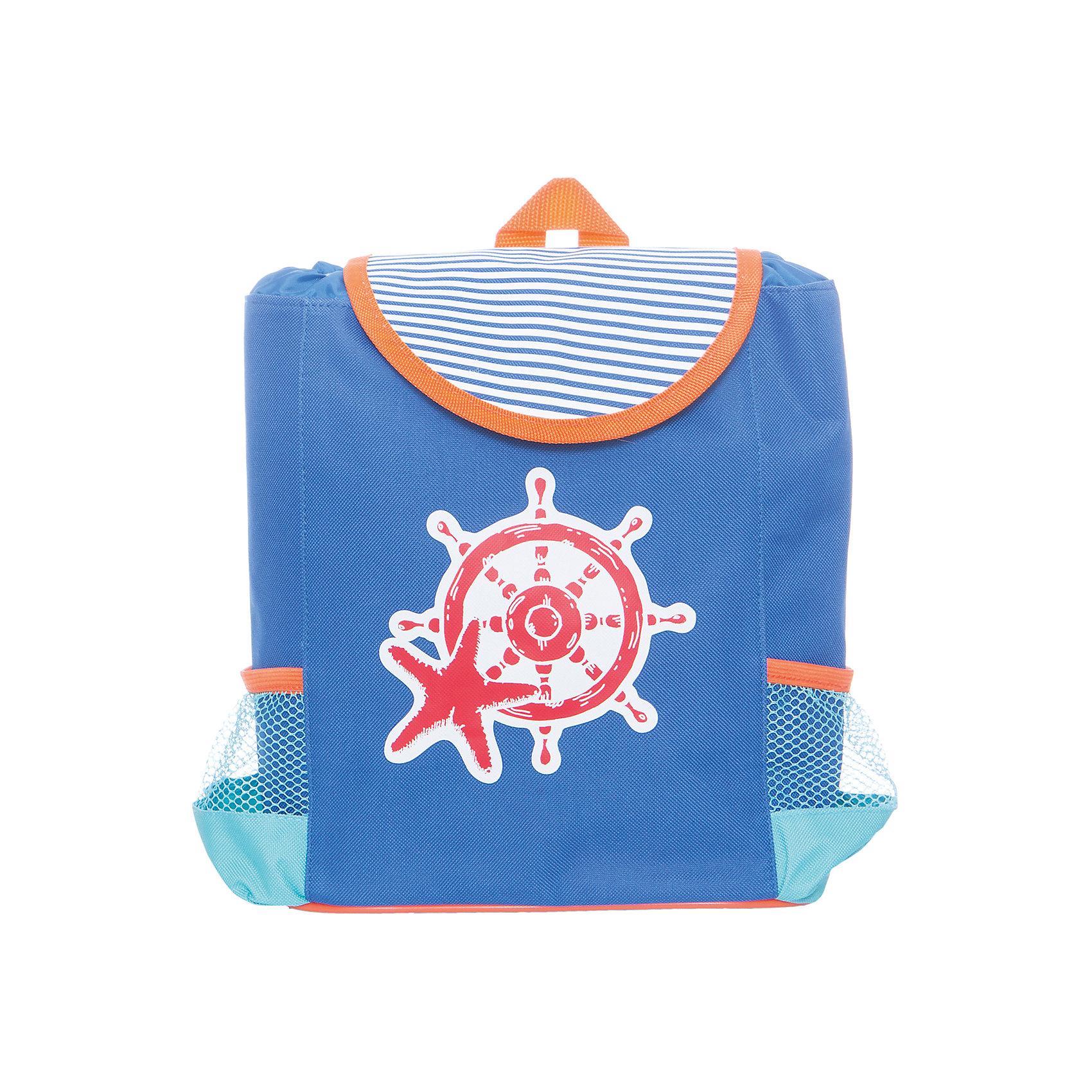 Рюкзак Море 23.5*10*30см.Детские рюкзаки<br>Рюкзак Море  - очень практичный и удобный, подойдет для самых маленьких и постарше. Рюкзак выполнен из текстиля в красивых ярких тонах, с морской тематикой - принтом на переднем плане в виде штурвала и морской звезды. Рюкзак небольшого размера, что позволит даже малышам самостоятельно использовать его по назначению. По краям рюкзака расположены два кармашка, которые пригодятся для бутылочек и мелких вещей.<br><br>Ширина мм: 235<br>Глубина мм: 300<br>Высота мм: 1000<br>Вес г: 260<br>Возраст от месяцев: 36<br>Возраст до месяцев: 2147483647<br>Пол: Унисекс<br>Возраст: Детский<br>SKU: 5508539