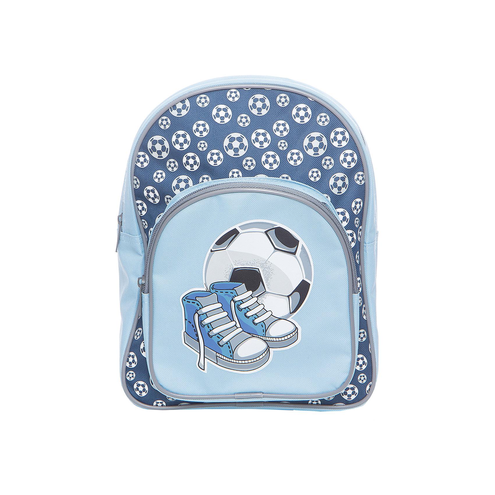 Рюкзак Спорт 23*8*30 см.Детские рюкзаки<br>Симпатичный детский рюкзак Спорт от производителя Mary Poppins выполнен в сине-голубой цветовой гамме. У рюкзачка есть вместительное отделение, оно застегивается на молнию. Внешний карман тоже застегивается на молнию, он украшен принтом с изображением мяча и кроссовок. Широкие лямки позволяют носить рюкзак на спине. В рюкзачке можно носить спортивную форму, книжки и игрушки. Изделие изготовлено из синтетического материала, его можно стирать.<br><br>Ширина мм: 230<br>Глубина мм: 300<br>Высота мм: 800<br>Вес г: 217<br>Возраст от месяцев: 36<br>Возраст до месяцев: 2147483647<br>Пол: Мужской<br>Возраст: Детский<br>SKU: 5508541