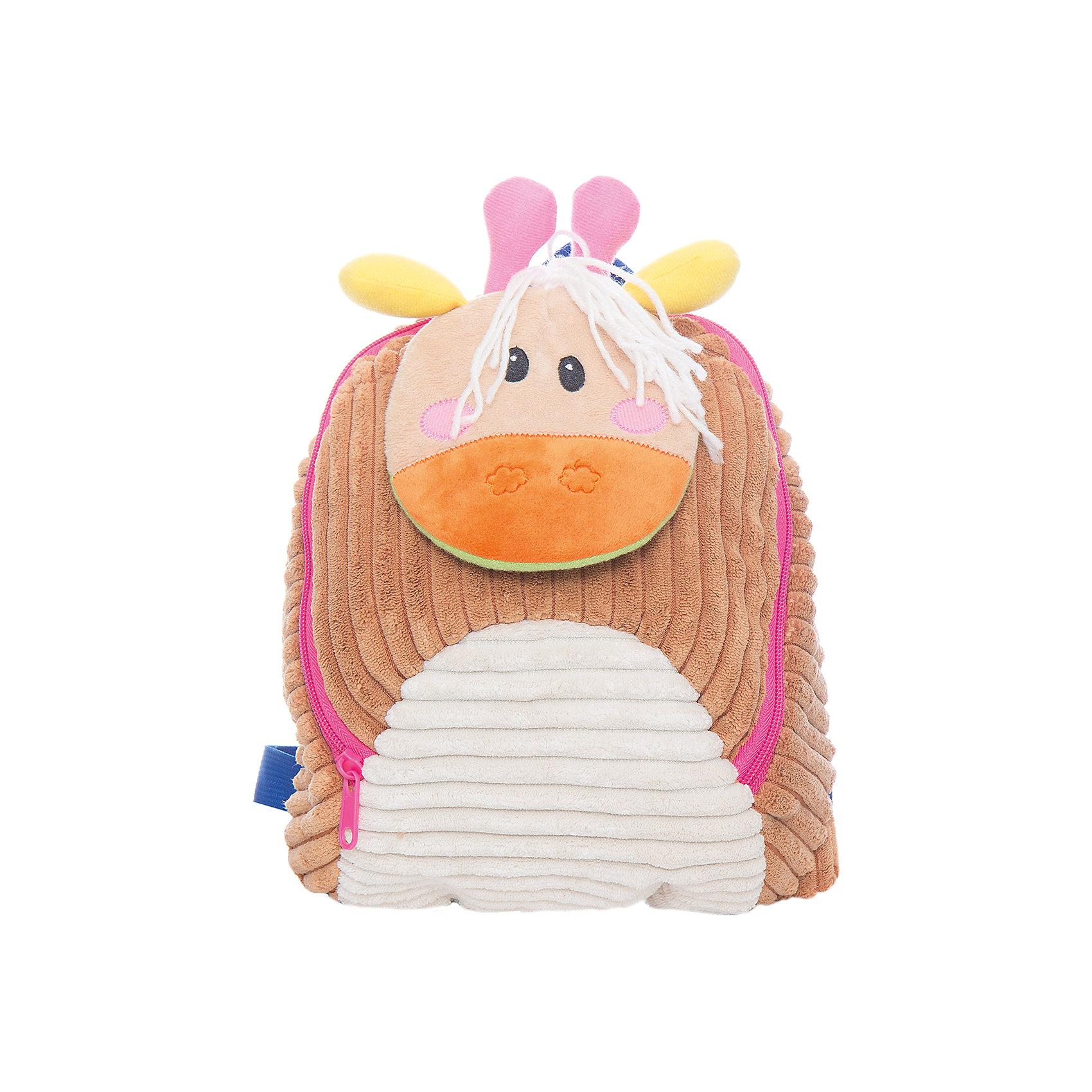 Рюкзачок Жираф, бежевый,  20*28 см.Детские рюкзаки<br>Яркий и мягкий рюкзачок Жираф - специально для малышей! Он легкий и имеет небольшой размер - 20х28 см. Основное отделение закрывается на молнию. Лямки регулируемые. Снизу рюкзачка есть карабин для поводка. Наличие такого поводка превращает рюкзачок в шлейку - очень удобный предмет, который поможет не только в обучении ходьбе, но и позволит не потерять ребенка в людном месте.<br><br>Ширина мм: 200<br>Глубина мм: 280<br>Высота мм: 800<br>Вес г: 200<br>Возраст от месяцев: 36<br>Возраст до месяцев: 2147483647<br>Пол: Унисекс<br>Возраст: Детский<br>SKU: 5508542