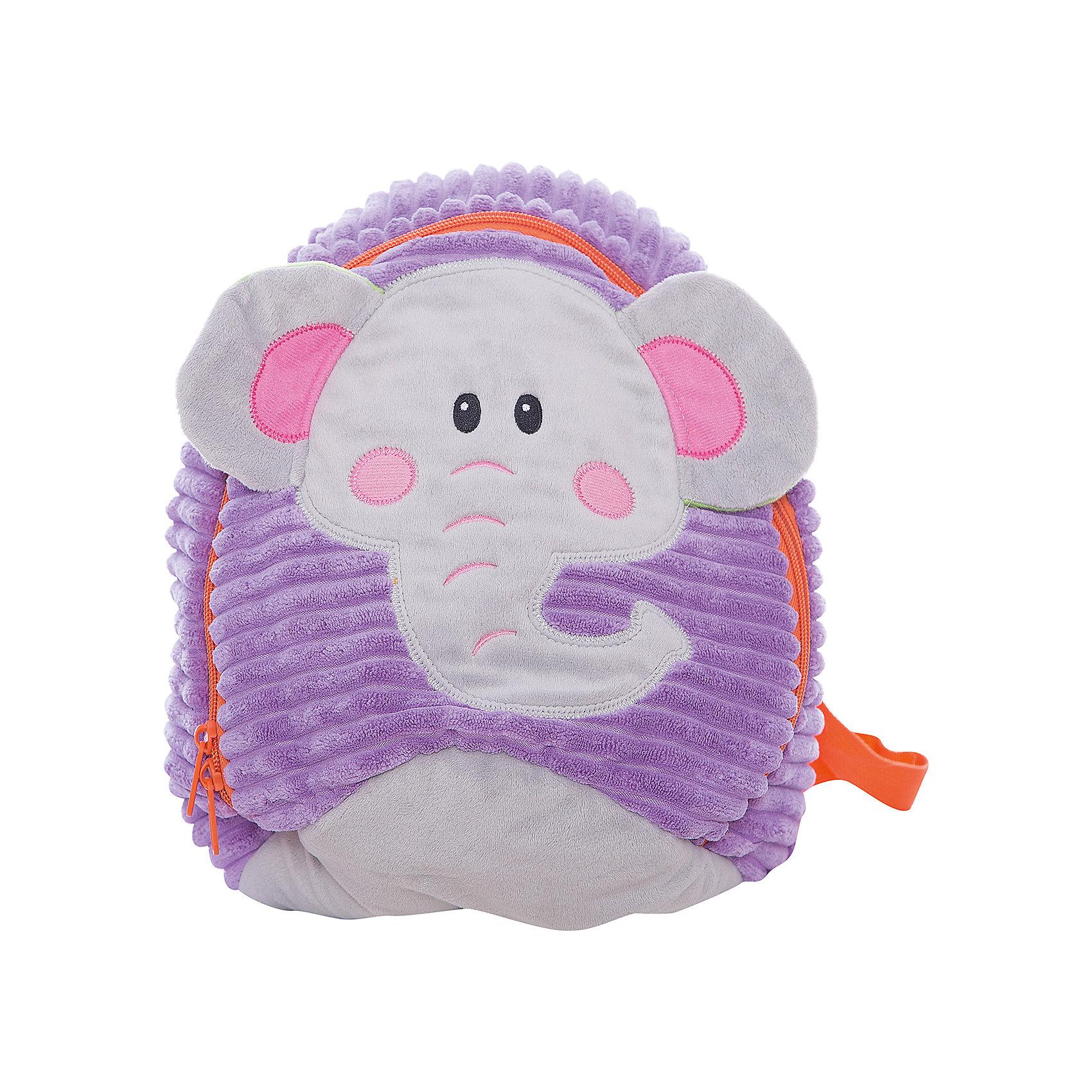 Рюкзачок Слоник, сиренево-серый,  20*28 см.Детские рюкзаки<br>Яркий и мягкий рюкзачок Слоник - специально для малышей! Он легкий и имеет небольшой размер - 20х28 см. Основное отделение закрывается на молнию. Лямки регулируемые.<br><br>Ширина мм: 200<br>Глубина мм: 280<br>Высота мм: 800<br>Вес г: 167<br>Возраст от месяцев: 36<br>Возраст до месяцев: 2147483647<br>Пол: Унисекс<br>Возраст: Детский<br>SKU: 5508545