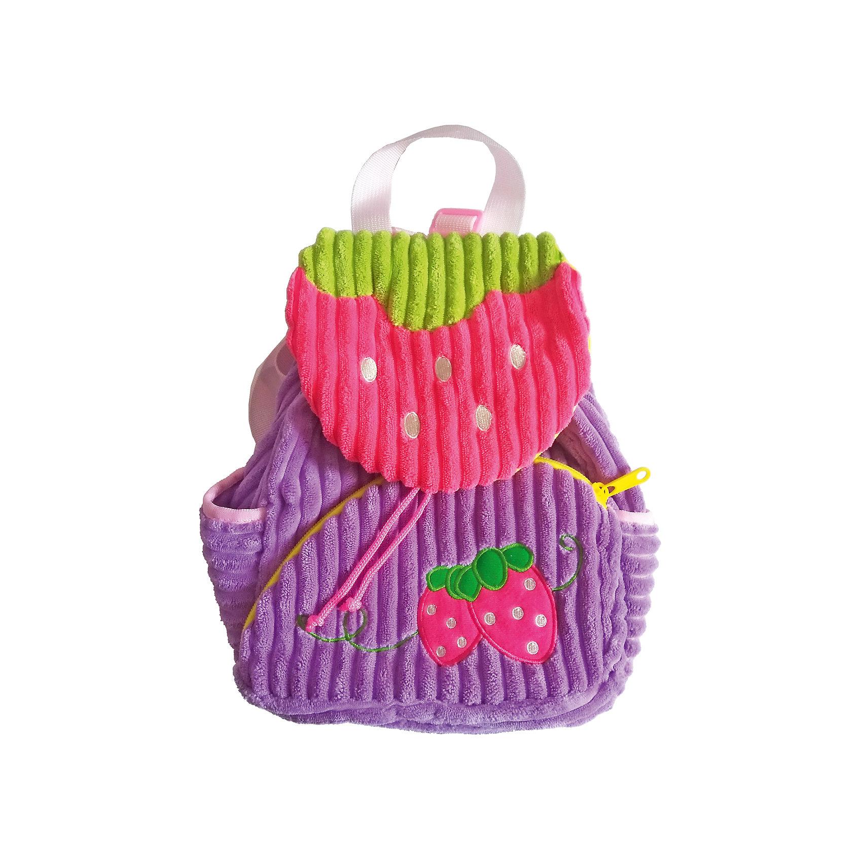 Рюкзачок Ягодка, сиренево-розовый,  20*28 см.Детские рюкзаки<br>Яркий и мягкий рюкзачок Ягодка - специально для малышей! Он легкий и имеет небольшой размер - 20х28 см. Основное отделение затягивается на ремешок и закрывается клапаном. Спереди - карман на молнии, по бокам маленькие кармашки. Лямки регулируемые.<br><br>Ширина мм: 200<br>Глубина мм: 280<br>Высота мм: 800<br>Вес г: 175<br>Возраст от месяцев: 36<br>Возраст до месяцев: 2147483647<br>Пол: Женский<br>Возраст: Детский<br>SKU: 5508547