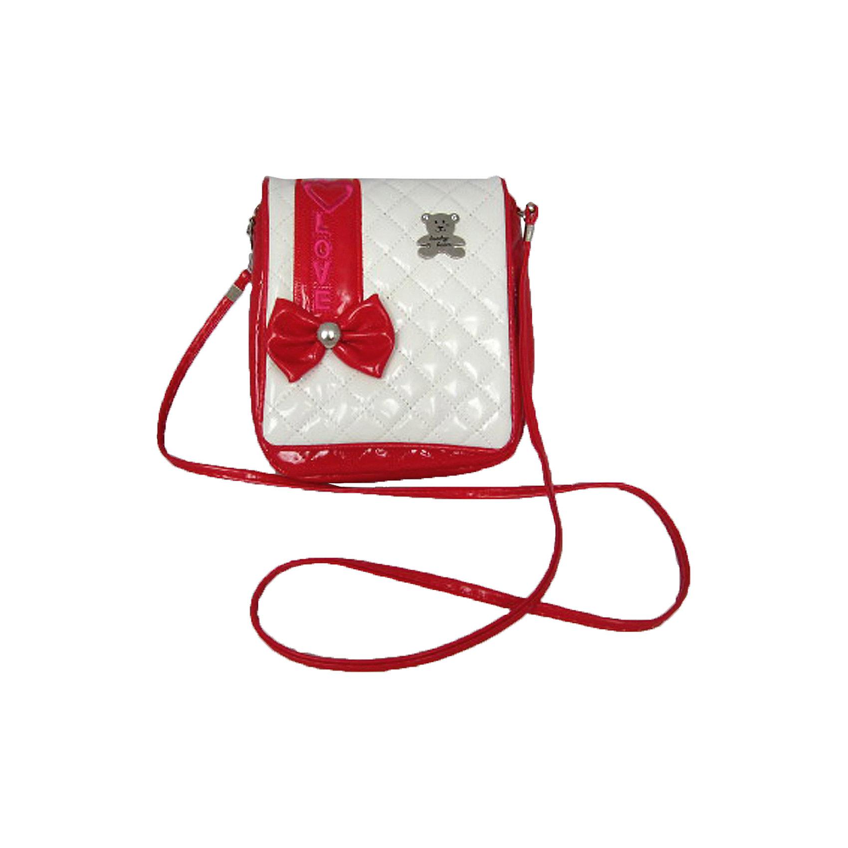 Сумочка Мишки на плечо красно-белаяДетские сумки<br>Каждая маленькая модница точно знает, как важно, чтобы сумочка подходила по цвету к туфлям! Новая коллекция сумочек для девочек выполнена в самых любимых девичьих цветах. В сумочку можно положить зеркальце, расческу и заколки - теперь все необходимое всегда под рукой!<br><br>Ширина мм: 210<br>Глубина мм: 180<br>Высота мм: 300<br>Вес г: 116<br>Возраст от месяцев: 36<br>Возраст до месяцев: 2147483647<br>Пол: Женский<br>Возраст: Детский<br>SKU: 5508566