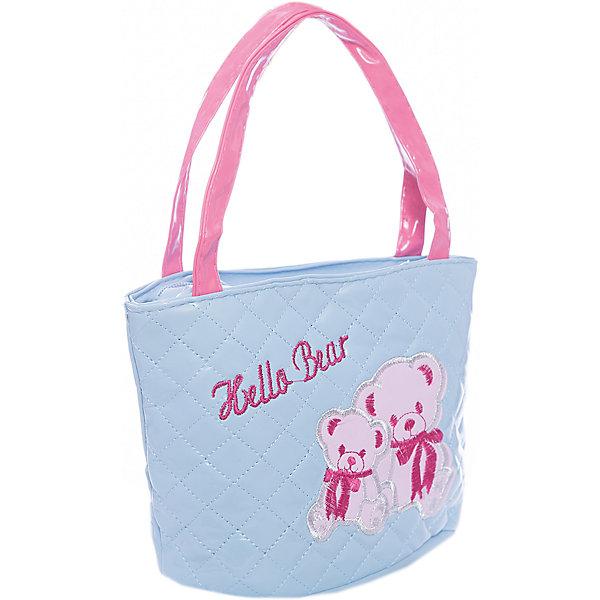 Сумочка Мишки, голубая, 18х20 см.Детские сумки<br>Сумочка Мишки, голубая, 18х20 см., Shantou Gepai (Шанту Гепаи)<br><br>Характеристики:<br><br>• две ручки<br>• застегивается на молнию<br>• стильный дизайн<br>• материал: текстиль<br>• размер: 18х20 см<br>• цвет: голубой<br>• размер упаковки: 17х13х22 см<br>• вес: 82 грамма<br><br>Легкая и удобная  сумка Мишки станет отличным дополнением к образу маленькой модницы. В ней девочка сможет разместить любимые аксессуары, косметику и другие принадлежности. Сумка застегивается на молнию и имеет две удобные ручки. Сумка выполнена в нежно-голубом цвете и декорирована изображением прелестных медвежат.<br><br>Сумочка Мишки, голубая, 18х20 см., Shantou Gepai (Шанту Гепаи) можно купить в нашем интернет-магазине.<br>Ширина мм: 220; Глубина мм: 130; Высота мм: 1700; Вес г: 82; Возраст от месяцев: 36; Возраст до месяцев: 2147483647; Пол: Женский; Возраст: Детский; SKU: 5508570;