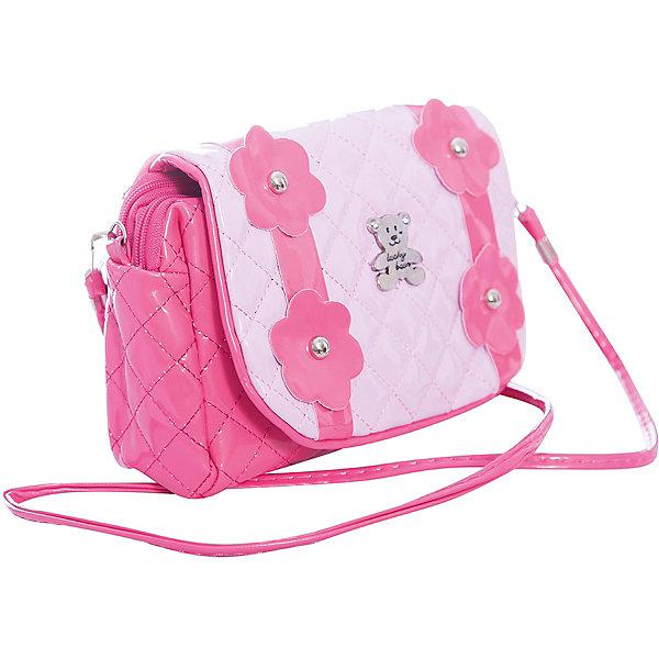 Сумочка Цветы на плечо, розовая