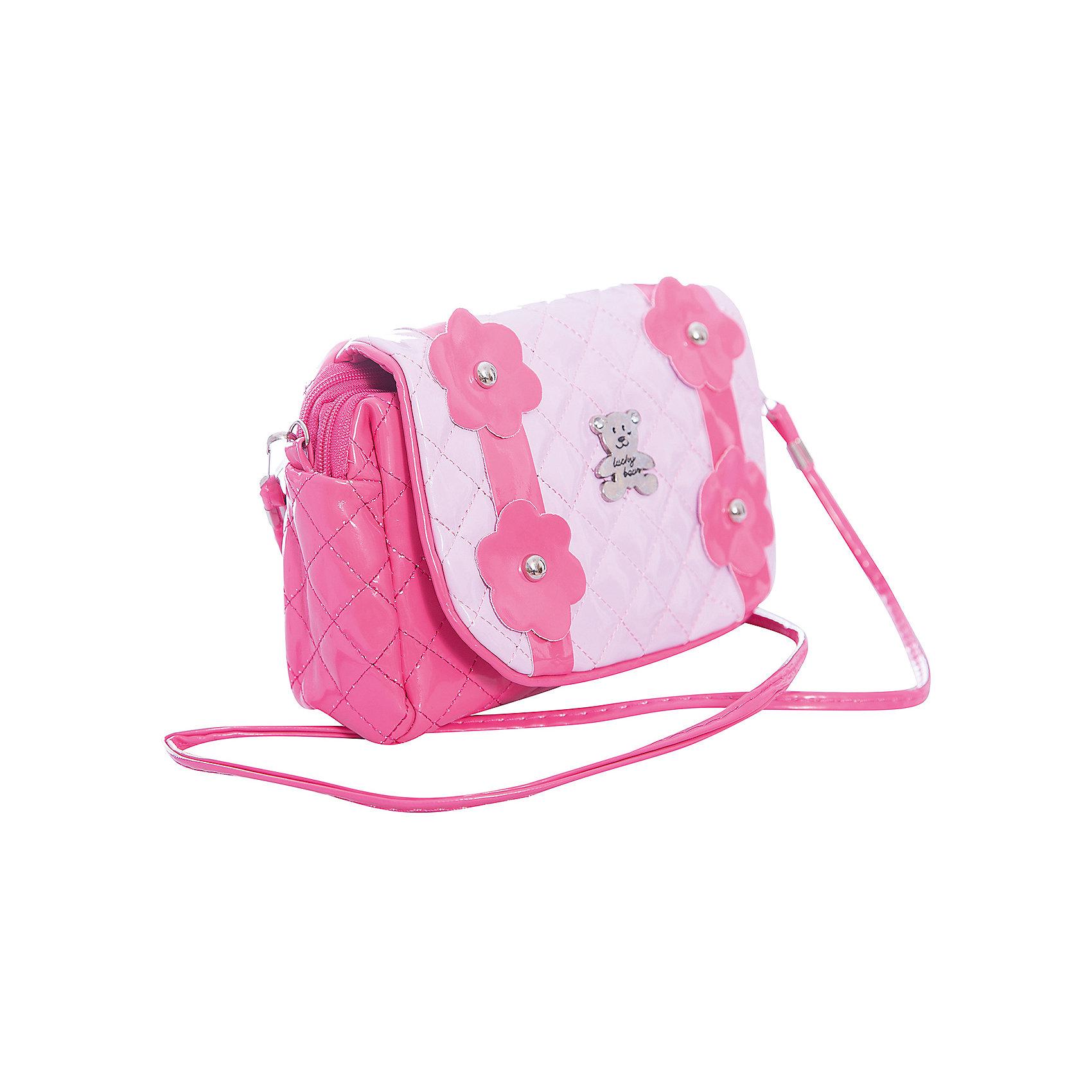Сумочка Цветы на плечо, розоваяДетские сумки<br>Любой маленькой моднице может понравиться стильная розовая сумочка Цветы, которую можно носить как по-взрослому, на одном плече, так и перекинув длинную ручку через плечо. Сумка украшена ярко-розовыми цветами, а специальное покрытие под лак придает ей оригинальный вид. С такой сумочкой можно ходить в детский сад или в гости, в нее поместятся все необходимые девочке мелочи.<br><br>Ширина мм: 210<br>Глубина мм: 180<br>Высота мм: 300<br>Вес г: 101<br>Возраст от месяцев: 36<br>Возраст до месяцев: 2147483647<br>Пол: Женский<br>Возраст: Детский<br>SKU: 5508577