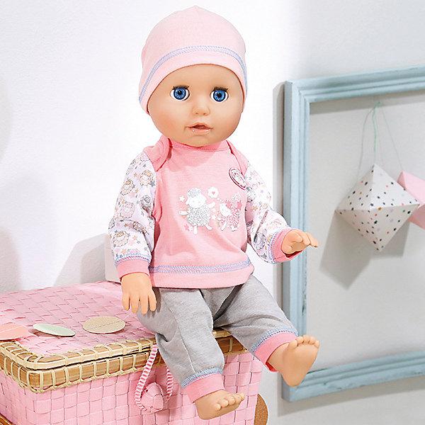 Интерактивная кукла Zapf Creation Baby Annabell Учимся ходить, 43 смКуклы<br>Характеристики:<br>• возраст: от 3 лет;<br>• материал: пластик, текстиль;<br>• высота куклы: 43 см;<br>• в комплекте: кукла, бутылочка-поилка, слюнявчик, соска, погремушка;<br>• тип батареек: 4 x AA / LR6 1.5V (пальчиковые);<br>• наличие батареек: не входят в комплект;<br>• размер упаковки: 46x28x17 см;<br>• упаковка: картонная коробка блистерного типа;<br>• страна бренда: Германия;<br>• страна изготовитель: Китай.<br>Эта очаровательная кукла может ползать по полу и одновременно лепетать, при этом иногда падая и плача, словно младенец. При поднятии ручек наверх и выпрямлении ног кукла будет учиться ходить, а если куколку посадить на ровную поверхность, то она начнет капризничать. С куколкой можно играть, как с настоящим младенцем: надевать слюнявчик, кормить и поить из бутылочки, давать соску, развлекать с помощью погремушки из набора, петь колыбельную, укладывать спать в коляску или кроватку. Одета игрушка в милый комбинезончик нежно-розового цвета с шапочкой. Игрушку Baby Annabell Куклу Учимся ходить, 43 см, можно купить в нашем интернет-магазине.<br>Ширина мм: 200; Глубина мм: 380; Высота мм: 260; Вес г: 1373; Возраст от месяцев: 36; Возраст до месяцев: 60; Пол: Женский; Возраст: Детский; SKU: 5508584;