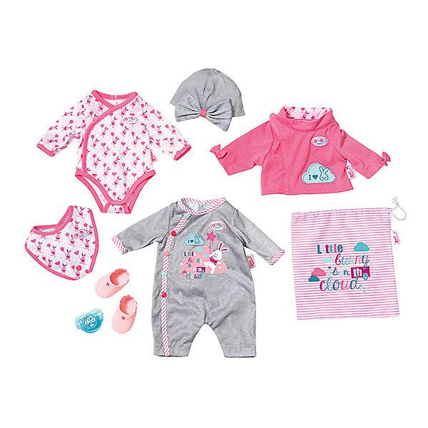 Набор одежды для куклы Zapf Creation Baby Born, 9 предметовОдежда для кукол<br>Характеристики товара:<br><br>• возраст: от 12 месяцев;<br>• комплект: курточка, боди, слюнявчик, шапочка, ботиночки, соска, мешочек, мягкий комбинезончик с принтом;<br>• из чего сделана игрушка (состав): пластик, текстиль;<br>• подходящая высота куклы: 43 см.;<br>• упаков<br>Ширина мм: 383; Глубина мм: 300; Высота мм: 101; Вес г: 340; Возраст от месяцев: 36; Возраст до месяцев: 60; Пол: Женский; Возраст: Детский; SKU: 5508602;