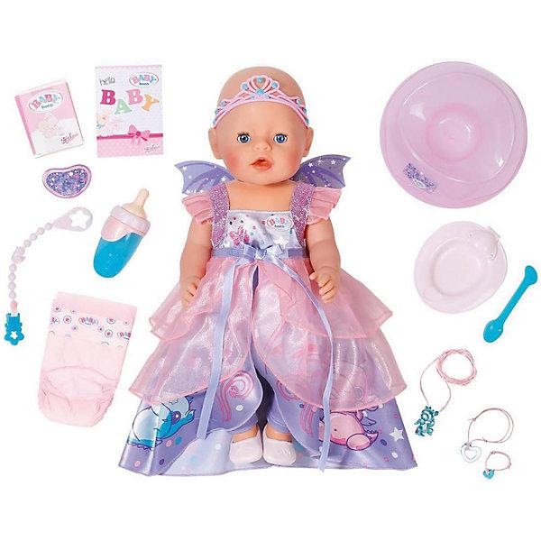Интерактивная кукла Zapf Creation Baby Born Волшебница, 43 смКуклы<br>Характеристики товара:<br><br>• возраст: от 3 лет;<br>• комплект: 1 кукла, бутылочка, соска, горшок, подгузник, тарелочка, ложка, смесь для кормления, аксессуары;<br>• из чего сделана игрушка (состав): пластик, текстиль;<br>• размер упаковки: 43х36х20 см.;<br>• упаковка: к<br>Ширина мм: 380; Глубина мм: 330; Высота мм: 187; Вес г: 1340; Возраст от месяцев: 36; Возраст до месяцев: 60; Пол: Женский; Возраст: Детский; SKU: 5508610;