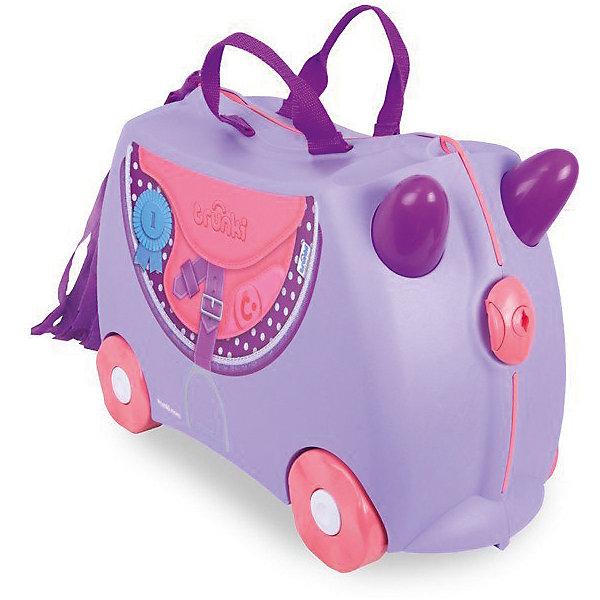 Чемодан ПониДорожные сумки и чемоданы<br>Характеристики товара:<br><br>• возраст от 3 лет;<br>• материал: пластик;<br>• в комплекте: чемодан, ремень;<br>• максимальный вес нагрузки 50 кг;<br>• объем чемодана 18 литров;<br>• размер чемодана 46х20,5х31 см;<br>• вес чемодана 1,7 кг;<br>• страна производитель: Великобритания.<br><br>Чемодан «Пони» Trunki станет надежным спутником маленького путешественника. С ним ребенок возьмет в путешествие любимые игрушки, книги, раскраски и фломастеры, а также необходимую одежду. Чемодан украшен изображением ковбойской сумочки и бахромой, изображающей хвост лошадки. Чемодан легко перемещать, перевозя на колесиках или перенося за удобную текстильную ручку. Внутренняя резинка сдерживает все содержимое чемодана и защищает от повреждений. Закрывается чемодан на пластиковый надежный замок.<br><br>Чемодан не даст соскучиться в аэропорту в ожидании рейса. Благодаря его прочной конструкции на нем можно покататься, держась на забавные рожки на передней части чемодана. В комплекте прочный ремень с карабинами, позволяющий перемещать чемодан или катать на нем малыша. Изготовлен чемодан из прочного легкого пластика.<br><br>Чемодан «Пони» Trunki можно приобрести в нашем интернет-магазине.<br>Ширина мм: 460; Глубина мм: 200; Высота мм: 305; Вес г: 1700; Возраст от месяцев: 36; Возраст до месяцев: 2147483647; Пол: Унисекс; Возраст: Детский; SKU: 5509340;