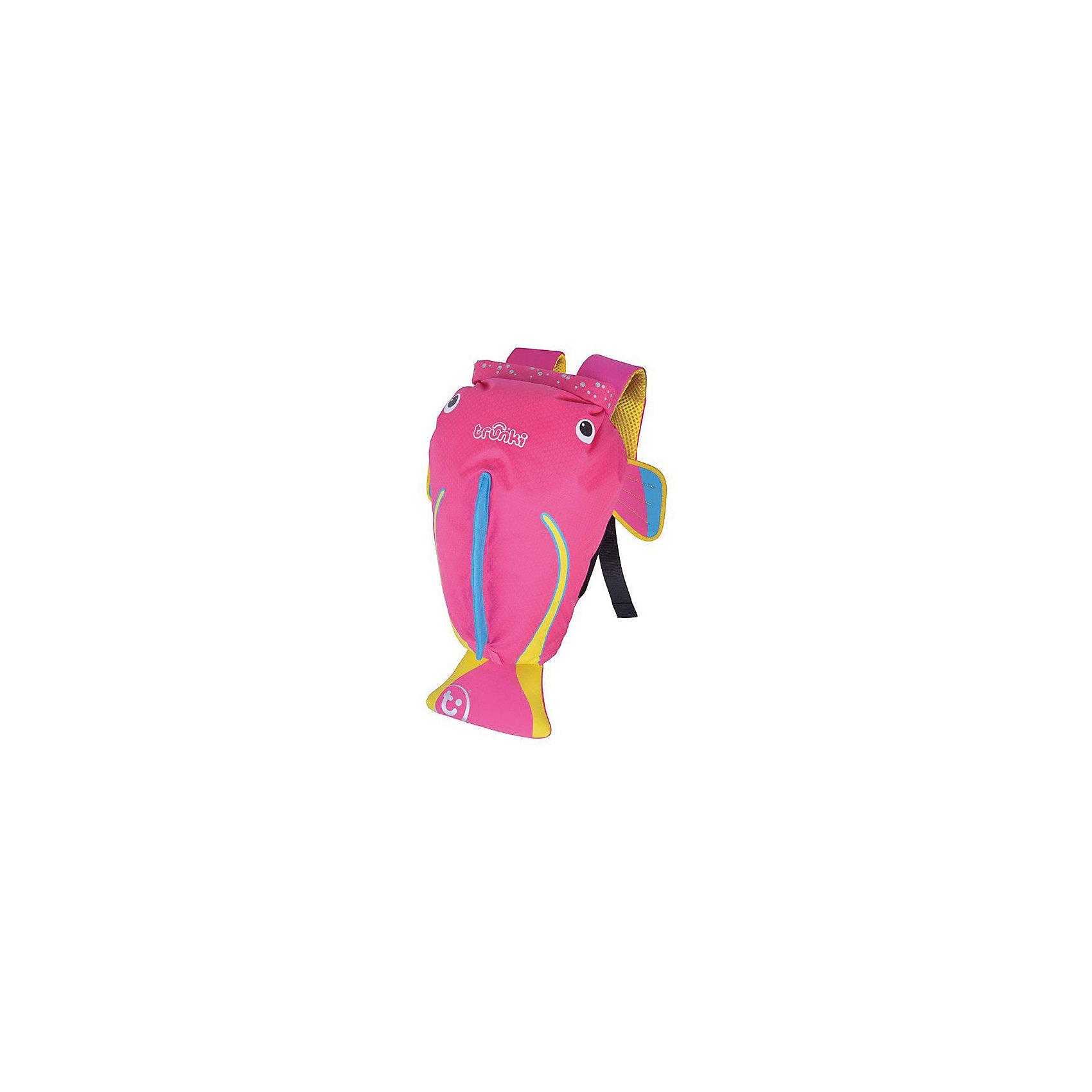 Рюкзак для бассейна и пляжа Коралловая рыбкаДетские рюкзаки<br>Яркий и стильный рюкзак для бассейна и пляжа Коралловая рыбка от мирового производителя детских чемоданов и дорожный аксессуаров Транки (Trunki) - отличный подарок для маленьких путешественников! <br><br>Рюкзак выполнен в виде розовой рыбки с хвостиком и плавниками. Материал, из которого сделан рюкзак, водоотталкивающий, а это значит, что малышу не придется волноваться за то, что его вещи и любимые игрушки могут промокнуть. <br><br>Рюкзак для бассейна и пляжа оснащен специальным креплением Trunki, с помощью которого к рюкзаку можно подвесить детские солнцезащитные очки. Рюкзак имеет светоотражающую отделку, а также карман в виде плавника, куда можно положить различные мелочи.  <br><br>Основные характеристики:<br><br><br>водоотталкивающий материал,<br>надежная и простая застежка,<br>широкие лямки обеспечивают удобную посадку и снижают давление,<br>карман на молнии в хвосте рыбки,<br>держатель для солнцезащитных очков,<br>вставки из сетчатой дышащей ткани на спинке,<br>светоотражающие вставки,<br>благодаря размеру идеально подходит для раздевалок в бассейне или в школе.<br><br><br>Рюкзак Trunki – незаменимый аксессуар для девочек и прекрасный подарок для походов в бассейн или на пляж.<br><br>Ширина мм: 290<br>Глубина мм: 170<br>Высота мм: 370<br>Вес г: 300<br>Возраст от месяцев: 36<br>Возраст до месяцев: 2147483647<br>Пол: Унисекс<br>Возраст: Детский<br>SKU: 5509341