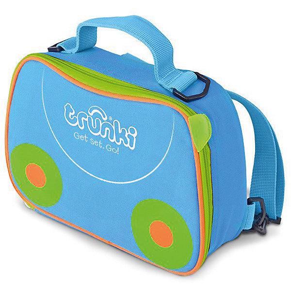 Сумка-холодильник, голубаяДорожные сумки и чемоданы<br>Характеристики товара:<br><br>• возраст от 3 лет;<br>• материал: полиэстер;<br>• объем 3,5 литра;<br>• размер сумки 27х19,5х7,5 см;<br>• вес 300 гр.;<br>• страна производитель: Китай.<br><br>Сумка-холодильник Trunki голубая — необходимый аксессуар для летних походов, пикников, прогулок в парке, путешествий, когда надо сохранить свежими продукты питания. Сумка используется и для сохранения температуры горячих продуктов. Специальная термоизоляционная подкладка и материал позволяют сохранять тепло.<br><br>Сумка выполнена из прочного материала, который не пропускает воду и ультрафиолетовые лучи. Закрывается сумка на надежную молнию. Для переноски предусмотрены удобные тканевые ручки, а также ремешок, благодаря которому сумку можно переносить за плечами, как рюкзачок. На крышке имеется сетчатый кармашек для мелочей или столовых приборов. По мере загрязнения внутренний материал легко протирается влажной салфеткой.<br><br>Сумку-холодильник Trunki голубую можно приобрести в нашем интернет-магазине.<br>Ширина мм: 270; Глубина мм: 75; Высота мм: 195; Вес г: 300; Возраст от месяцев: 36; Возраст до месяцев: 2147483647; Пол: Унисекс; Возраст: Детский; SKU: 5509342;