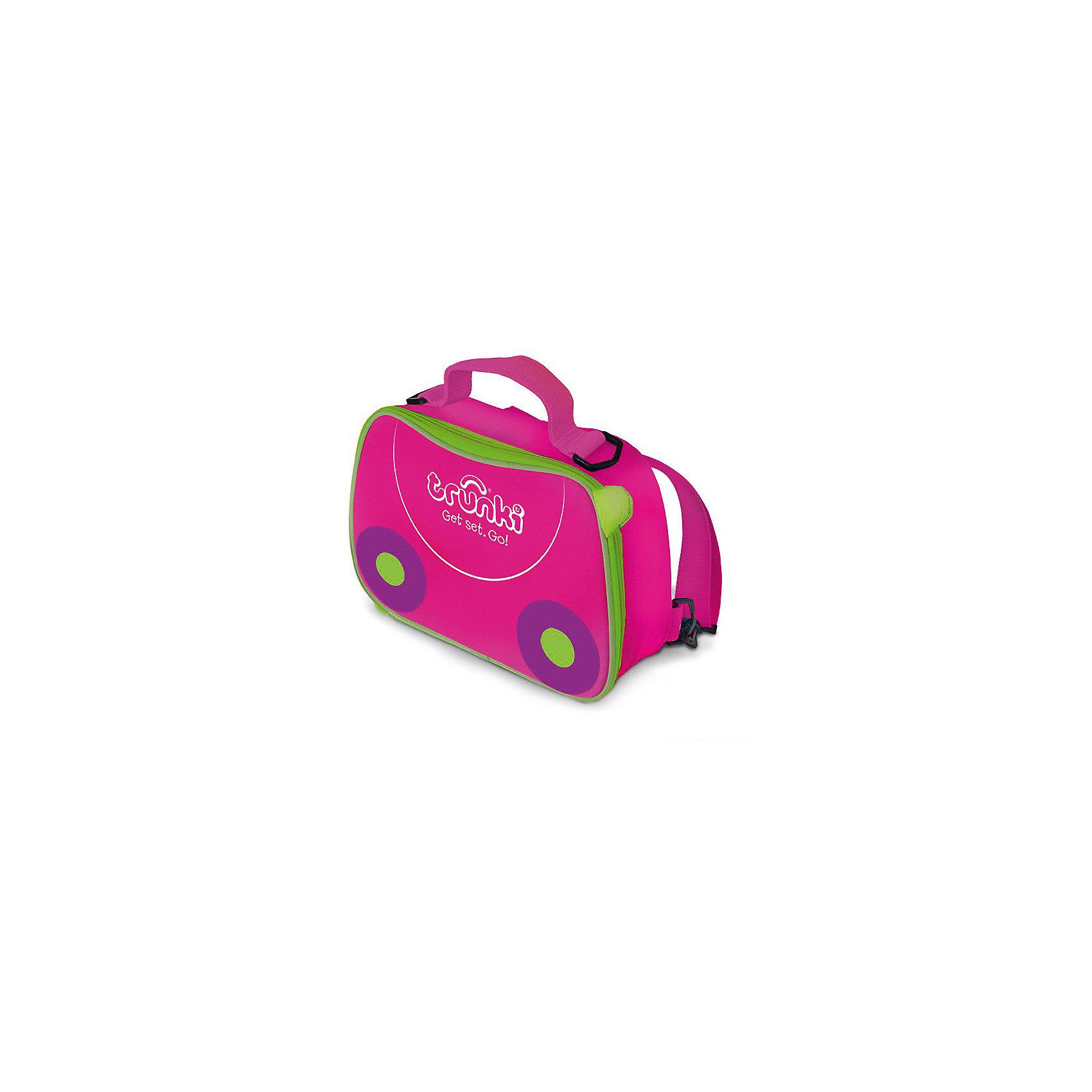 Сумка-холодильник, розоваяДорожные сумки и чемоданы<br>Характеристики товара:<br><br>• возраст от 3 лет;<br>• материал: полиэстер;<br>• объем 3,5 литра;<br>• размер сумки 27х19,5х7,5 см;<br>• вес 300 гр.;<br>• страна производитель: Китай.<br><br>Сумка-холодильник Trunki розовая — необходимый аксессуар для летних походов, пикников, прогулок в парке, путешествий, когда надо сохранить свежими продукты питания. Сумка используется и для сохранения температуры горячих продуктов. Специальная термоизоляционная подкладка и материал позволяют сохранять тепло.<br><br>Сумка выполнена из прочного материала, который не пропускает воду и ультрафиолетовые лучи. Закрывается сумка на надежную молнию. Для переноски предусмотрены удобные тканевые ручки, а также ремешок, благодаря которому сумку можно переносить за плечами, как рюкзачок. На крышке имеется сетчатый кармашек для мелочей или столовых приборов. По мере загрязнения внутренний материал легко протирается влажной салфеткой.<br><br>Сумку-холодильник Trunki розовую можно приобрести в нашем интернет-магазине.<br><br>Ширина мм: 270<br>Глубина мм: 75<br>Высота мм: 195<br>Вес г: 300<br>Возраст от месяцев: 36<br>Возраст до месяцев: 2147483647<br>Пол: Унисекс<br>Возраст: Детский<br>SKU: 5509343