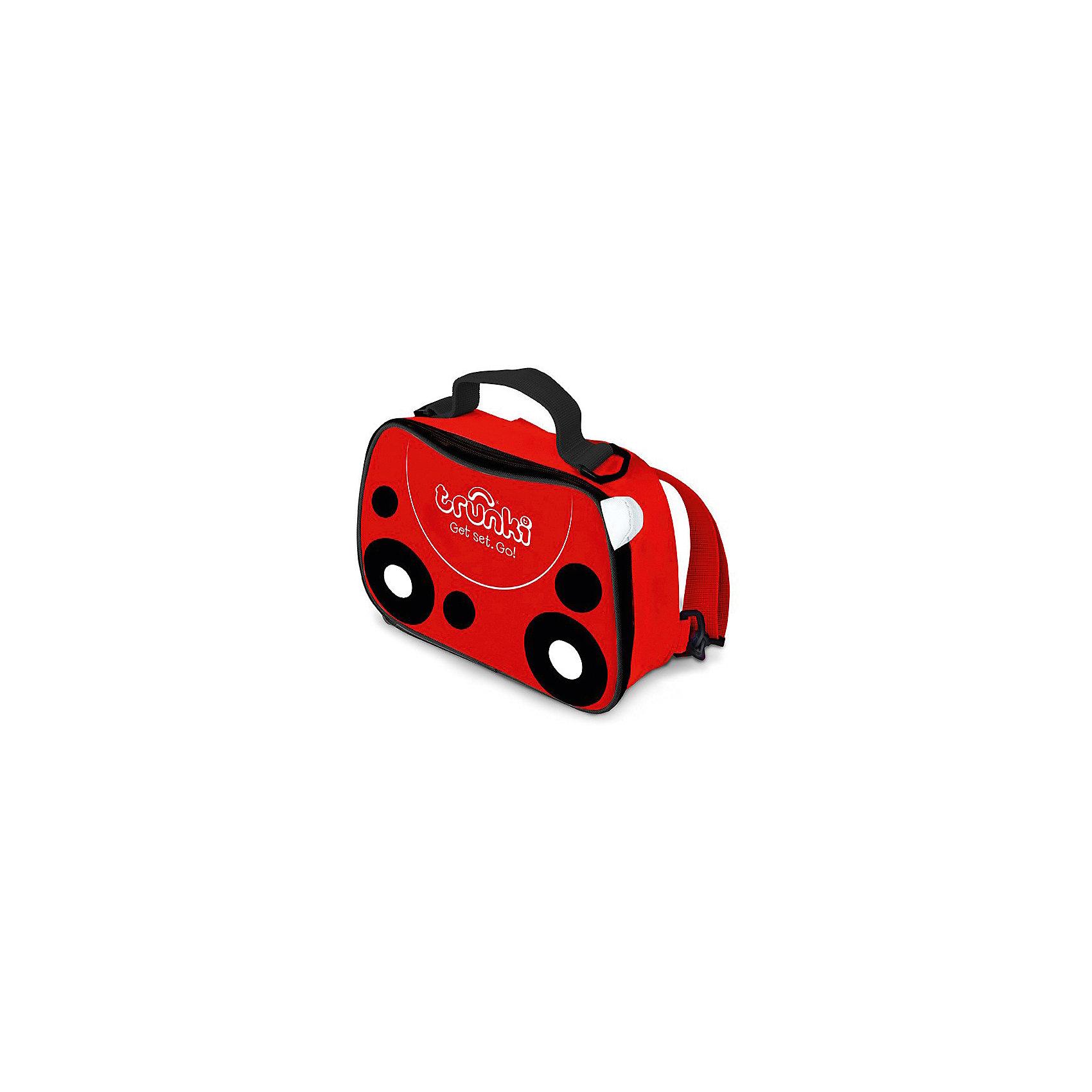 Сумка-холодильник Божья коровкаДорожные сумки и чемоданы<br>Характеристики товара:<br><br>• возраст от 3 лет;<br>• материал: полиэстер;<br>• объем 3,5 литра;<br>• размер сумки 27х19,5х7,5 см;<br>• вес 300 гр.;<br>• страна производитель: Китай.<br><br>Сумка-холодильник «Божья коровка» Trunki — необходимый аксессуар для летних походов, пикников, прогулок в парке, путешествий, когда надо сохранить свежими продукты питания. Красная сумочка имеет черно-белые вставки-кружочки, как у божьей коровки. Сумка используется и для сохранения температуры горячих продуктов. Специальная термоизоляционная подкладка и материал позволяют сохранять тепло.<br><br>Сумка выполнена из прочного материала, который не пропускает воду и ультрафиолетовые лучи. Закрывается сумка на надежную молнию. Для переноски предусмотрены удобные тканевые ручки, а также ремешок, благодаря которому сумку можно переносить за плечами, как рюкзачок. На крышке имеется сетчатый кармашек для мелочей или столовых приборов. По мере загрязнения внутренний материал легко протирается влажной салфеткой.<br><br>Сумку-холодильник «Божья коровка» Trunki можно приобрести в нашем интернет-магазине.<br><br>Ширина мм: 270<br>Глубина мм: 75<br>Высота мм: 195<br>Вес г: 300<br>Возраст от месяцев: 36<br>Возраст до месяцев: 2147483647<br>Пол: Унисекс<br>Возраст: Детский<br>SKU: 5509344