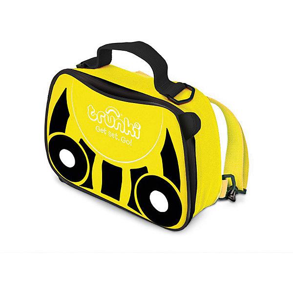 Сумка-холодильник ПчелкаДорожные сумки и чемоданы<br>Характеристики товара:<br><br>• возраст от 3 лет;<br>• материал: полиэстер;<br>• объем 3,5 литра;<br>• размер сумки 27х19,5х7,5 см;<br>• вес 300 гр.;<br>• страна производитель: Китай.<br><br>Сумка-холодильник «Пчелка» Trunki желтого цвета с черными полосками, как у пчелки, необходимый аксессуар для летних походов, пикников, прогулок в парке, путешествий, когда надо сохранить свежими продукты питания. Сумка используется и для сохранения температуры горячих продуктов. Специальная термоизоляционная подкладка и материал позволяют сохранять тепло.<br><br>Сумка выполнена из прочного материала, который не пропускает воду и ультрафиолетовые лучи. Закрывается сумка на надежную молнию. Для переноски предусмотрены удобные тканевые ручки, а также ремешок, благодаря которому сумку можно переносить за плечами, как рюкзачок. На крышке имеется сетчатый кармашек для мелочей или столовых приборов. По мере загрязнения внутренний материал легко протирается влажной салфеткой.<br><br>Сумку-холодильник «Пчелка» Trunki можно приобрести в нашем интернет-магазине.<br><br>Ширина мм: 270<br>Глубина мм: 75<br>Высота мм: 195<br>Вес г: 300<br>Возраст от месяцев: 36<br>Возраст до месяцев: 2147483647<br>Пол: Унисекс<br>Возраст: Детский<br>SKU: 5509345
