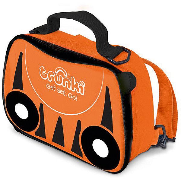Сумка-холодильник ТигренокДорожные сумки и чемоданы<br>Характеристики товара:<br><br>• возраст от 3 лет;<br>• материал: полиэстер;<br>• объем 3,5 литра;<br>• размер сумки 27х19,5х7,5 см;<br>• вес 300 гр.;<br>• страна производитель: Китай.<br><br>Сумка-холодильник «Тигренок» Trunki оранжевого цвета с черными полосками, как у тигра, необходимый аксессуар для летних походов, пикников, прогулок в парке, путешествий, когда надо сохранить свежими продукты питания. Сумка используется и для сохранения температуры горячих продуктов. Специальная термоизоляционная подкладка и материал позволяют сохранять тепло.<br><br>Сумка выполнена из прочного материала, который не пропускает воду и ультрафиолетовые лучи. Закрывается сумка на надежную молнию. Для переноски предусмотрены удобные тканевые ручки, а также ремешок, благодаря которому сумку можно переносить за плечами, как рюкзачок. На крышке имеется сетчатый кармашек для мелочей или столовых приборов. По мере загрязнения внутренний материал легко протирается влажной салфеткой.<br><br>Сумку-холодильник «Тигренок» Trunki можно приобрести в нашем интернет-магазине.<br>Ширина мм: 270; Глубина мм: 75; Высота мм: 195; Вес г: 300; Возраст от месяцев: 36; Возраст до месяцев: 2147483647; Пол: Унисекс; Возраст: Детский; SKU: 5509346;