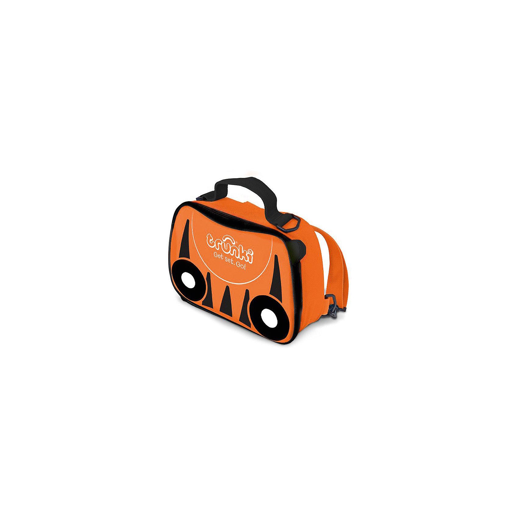 Сумка-холодильник ТигренокСумка-холодильник или термосумка от производителя Trunki - великолепная новинка, которая будет актуальной во время путешествий, пикников, походов в детский сад, долгих прогулок и активного отдыха. <br><br>По форме сумка выполнена в виде чемодана Транки Tipu Tiger. Сумка яркого оранжевого цвета с черными полосками, как у тигра. По бокам изображены черные с белым колесики, как у аналогичного чемодана. <br><br>Сумка-холодильник отлично подойдет, когда необходимо как можно дольше сохранить продукты питания охлажденными. А также сумку можно использовать, когда необходимо обеспечить сохранение температуры горячих продуктов в течение непродолжительного промежутка времени. За сохранение температуры продуктов отвечает термоизоляционная прокладка в виде специальной пены и специальный материал с внутренней стороны сумки. <br><br>Термосумка изготовлена из прочной ткани, обладающей водоотталкивающими свойствами и не пропускающей ультрафиолетовые лучи. Сумка очень легко чистится от загрязнений и быстро сохнет. Внутренняя поверхность сумки легко протирается влажной тряпкой, швы скрыты, что не позволяет забиваться в них крошкам и мусору. <br><br>На крышке сумки есть внутренний сетчатый карман для хранения мелочей или столовых приборов. <br><br>Сумка-холодильник Транки застегивается на молнию, имеет удобную ручку и съемный ремешок, с помощью которого она легко трансформируется в  рюкзак или плечевую сумку.<br><br>Ширина мм: 270<br>Глубина мм: 75<br>Высота мм: 195<br>Вес г: 300<br>Возраст от месяцев: 36<br>Возраст до месяцев: 2147483647<br>Пол: Унисекс<br>Возраст: Детский<br>SKU: 5509346