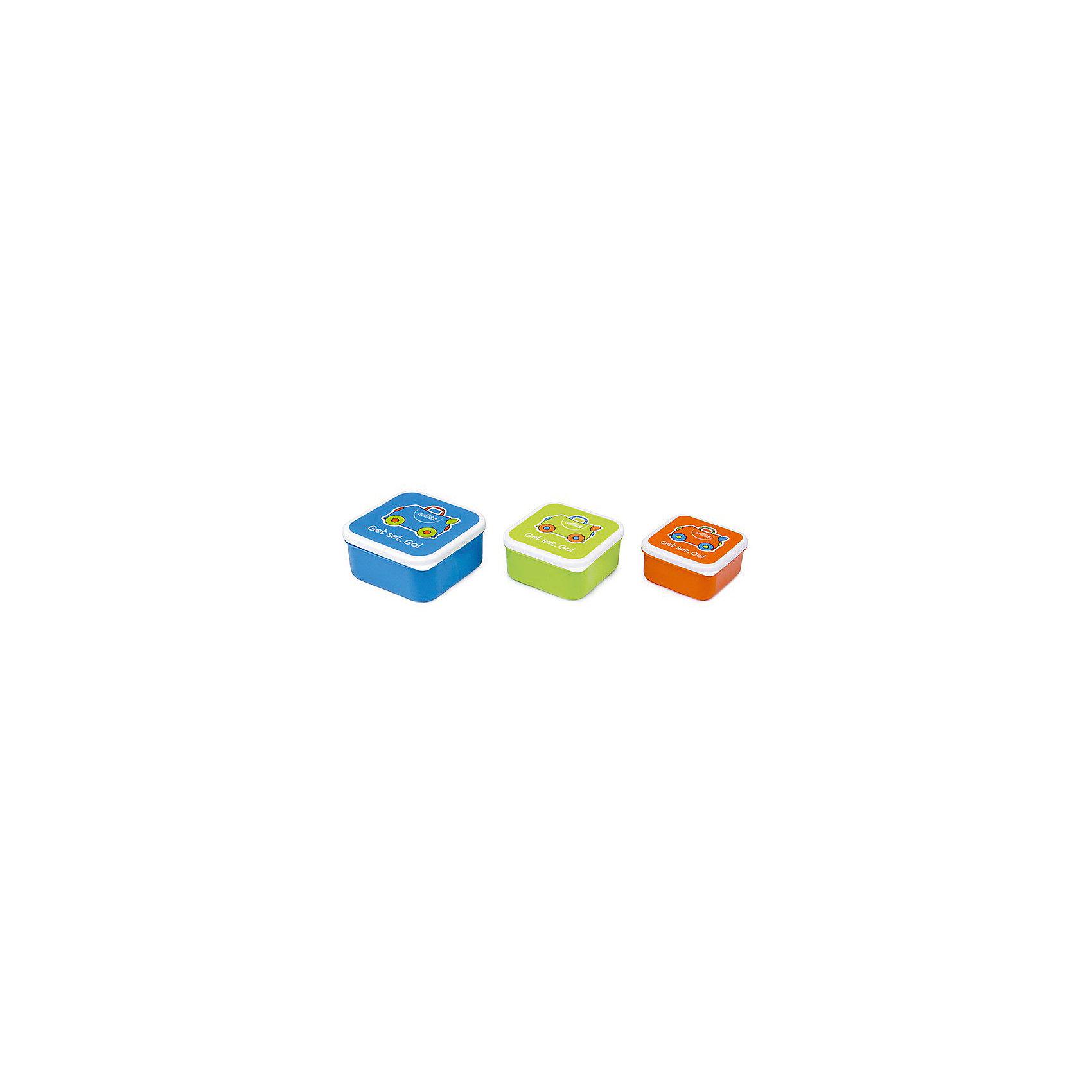 Контейнеры для еды 3 шт, голубой, оранжевый, зеленыйБутылки для воды и бутербродницы<br>Характеристики товара:<br><br>• возраст от 5 лет;<br>• материал: пластик;<br>• размер боксов 12x12x5,5 см, 10,5x10,5x5 см, 9x9x4,5 см;<br>• вес 250 гр.;<br>• страна производитель: Китай.<br><br>Контейнеры для еды 3 шт. Trunki голубой, оранжевый, зеленый позволяют брать с собой любимые блюда и закуски в путешествие, на пикник в парк или в школу. Крышки контейнеров украшены рисунком. Контейнеры изготовлены из качественного безопасного пластика. Нижняя часть контейнера моется в посудомоечной машине. Контейнеры не предназначены для использования в микроволновой печи.<br><br>Контейнеры для еды 3 шт. Trunki голубой, оранжевый, зеленый можно приобрести в нашем интернет-магазине.<br><br>Ширина мм: 120<br>Глубина мм: 55<br>Высота мм: 120<br>Вес г: 250<br>Возраст от месяцев: 60<br>Возраст до месяцев: 2147483647<br>Пол: Унисекс<br>Возраст: Детский<br>SKU: 5509347
