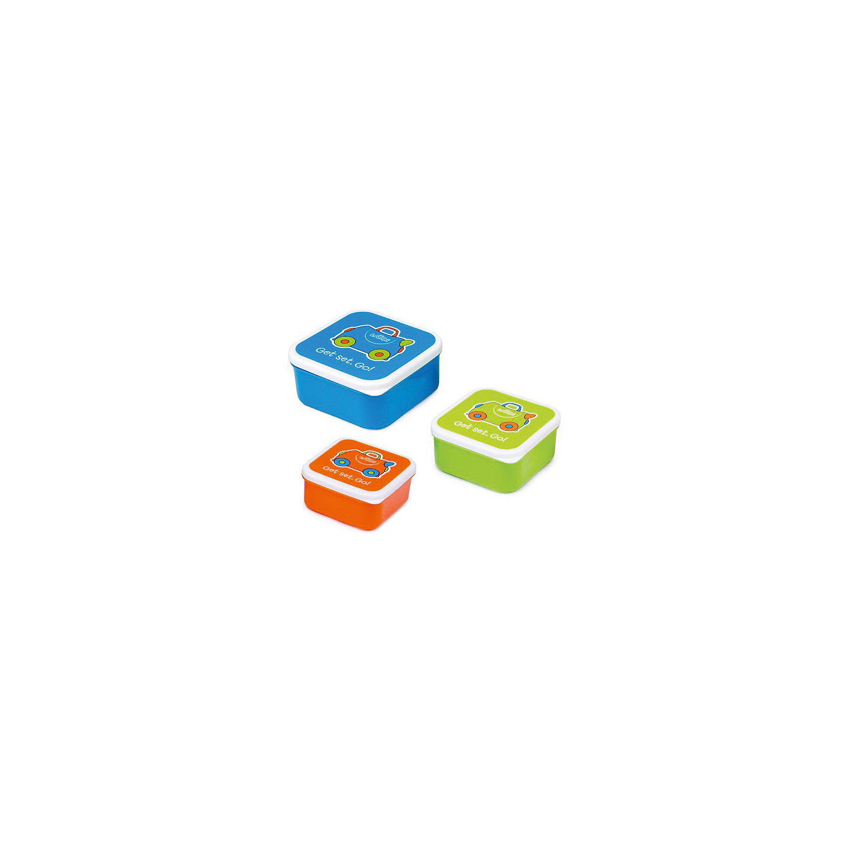 Контейнеры для еды 3 шт, голубой, оранжевый, зеленый от myToys