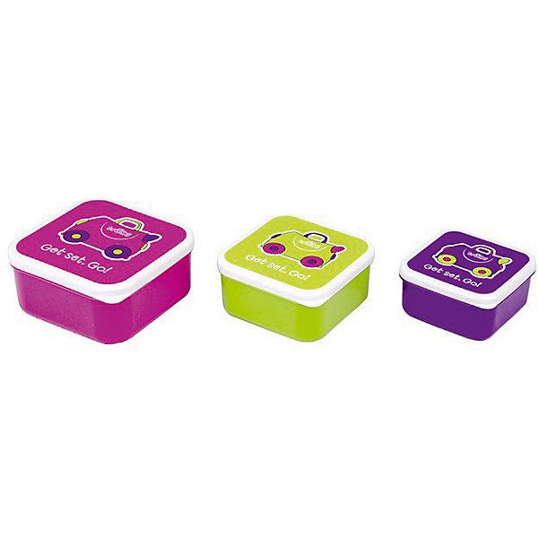 Контейнеры для еды 3 шт, розовый, фиолетовый, зеленыйДетская посуда<br>Характеристики товара:<br><br>• возраст от 5 лет;<br>• материал: пластик;<br>• размер боксов 12x12x5,5 см, 10,5x10,5x5 см, 9x9x4,5 см;<br>• вес 250 гр.;<br>• страна производитель: Китай.<br><br>Контейнеры для еды 3 шт. Trunki розовый, фиолетовый, зеленый позволяют брать с собой любимые блюда и закуски в путешествие, на пикник в парк или в школу. Крышки контейнеров украшены рисунком. Контейнеры изготовлены из качественного безопасного пластика. Нижняя часть контейнера моется в посудомоечной машине. Контейнеры не предназначены для использования в микроволновой печи.<br><br>Контейнеры для еды 3 шт. Trunki розовый, фиолетовый, зеленый можно приобрести в нашем интернет-магазине.<br><br>Ширина мм: 120<br>Глубина мм: 55<br>Высота мм: 120<br>Вес г: 250<br>Возраст от месяцев: 60<br>Возраст до месяцев: 2147483647<br>Пол: Унисекс<br>Возраст: Детский<br>SKU: 5509348