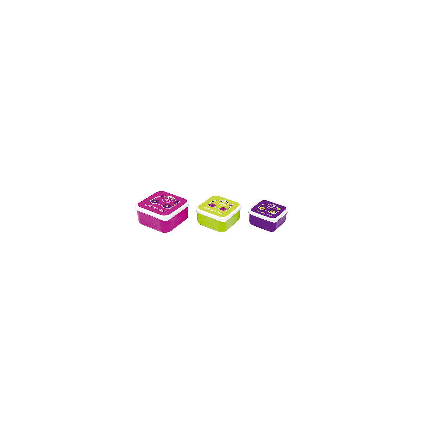 Контейнеры для еды 3 шт, розовый, фиолетовый, зеленыйЛанч бокс Trunki 3 в 1, розового, фиолетового и зеленого цвета непременно пригодится юным путешественникам. <br><br>В ярких ланч боксах ребенок сможет взять с собой в путешествие, на пикник или прогулку любимые угощения и закуски. Комплект контейнеров идеально вмещается в сумку-холодильник от Trunki. <br><br>Ланч боксы легко моются, нижнюю часть контейнера можно мыть в посудомоечной машине, крышку же лучше мыть вручную, чтобы избежать стирания рисунка. Удобны в хранении, не занимают много места, вмещаются друг в друга по принципу матрешки. <br><br>Внимание! Пищевые контейнеры Транки не предназначены для микроволновой печи. <br><br>Ланч боксы выполнены в стилистике и расцветке сумки-холодильника и чемодана Trixie, изготовлены из высококачественного безопасного для здоровья пластика, без содержания ПВХ, бисфенолов и фталатов. <br><br>Размеры ланч боксов:<br><br>Большой - 12 x 12 x 5,5 см., <br>Средний - 10,5 x 10,5 x 5 см., <br>Маленький - 9 x 9 x 4,5 см.<br><br>Ширина мм: 120<br>Глубина мм: 55<br>Высота мм: 120<br>Вес г: 250<br>Возраст от месяцев: 60<br>Возраст до месяцев: 2147483647<br>Пол: Унисекс<br>Возраст: Детский<br>SKU: 5509348