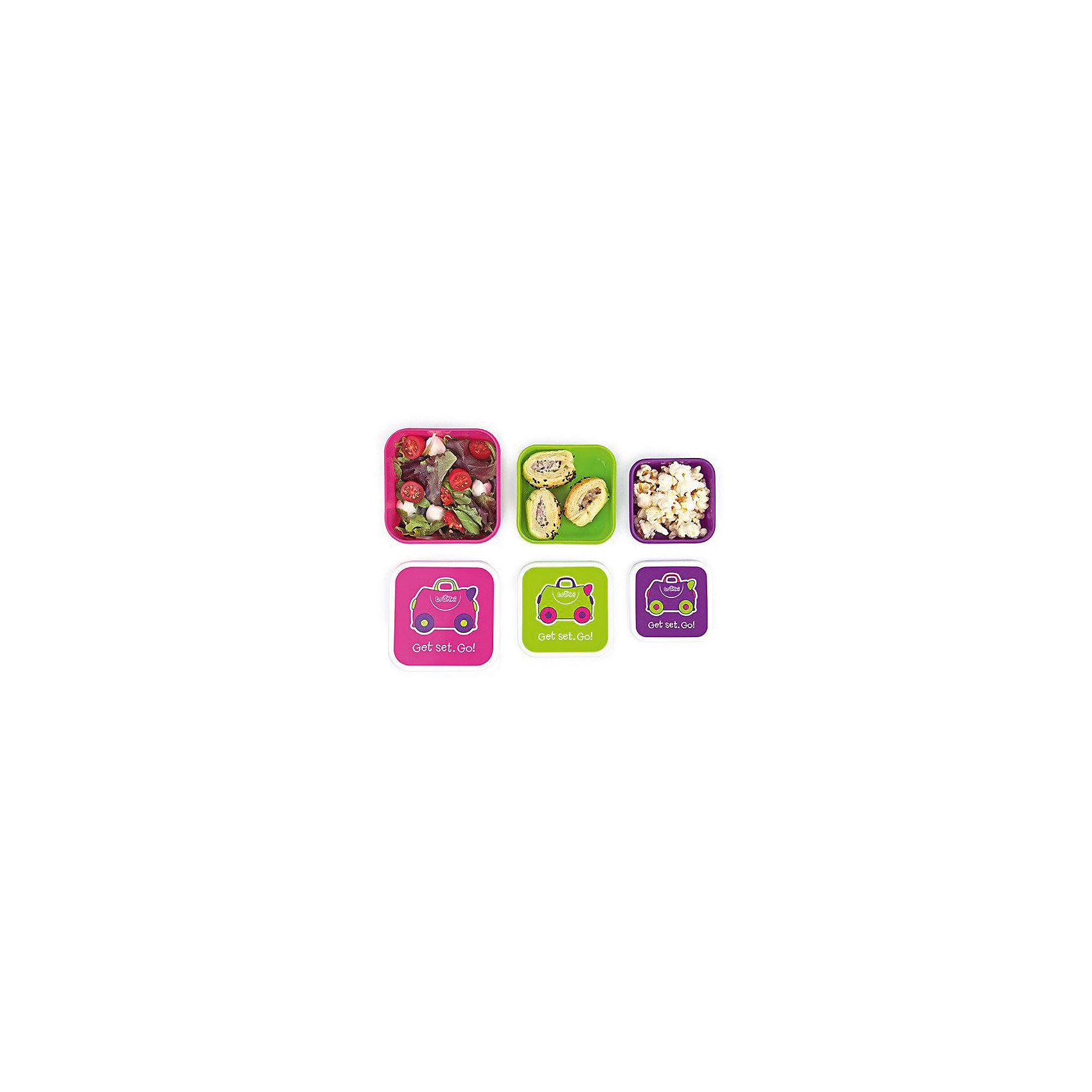 Контейнеры для еды 3 шт, розовый, фиолетовый, зеленый от myToys