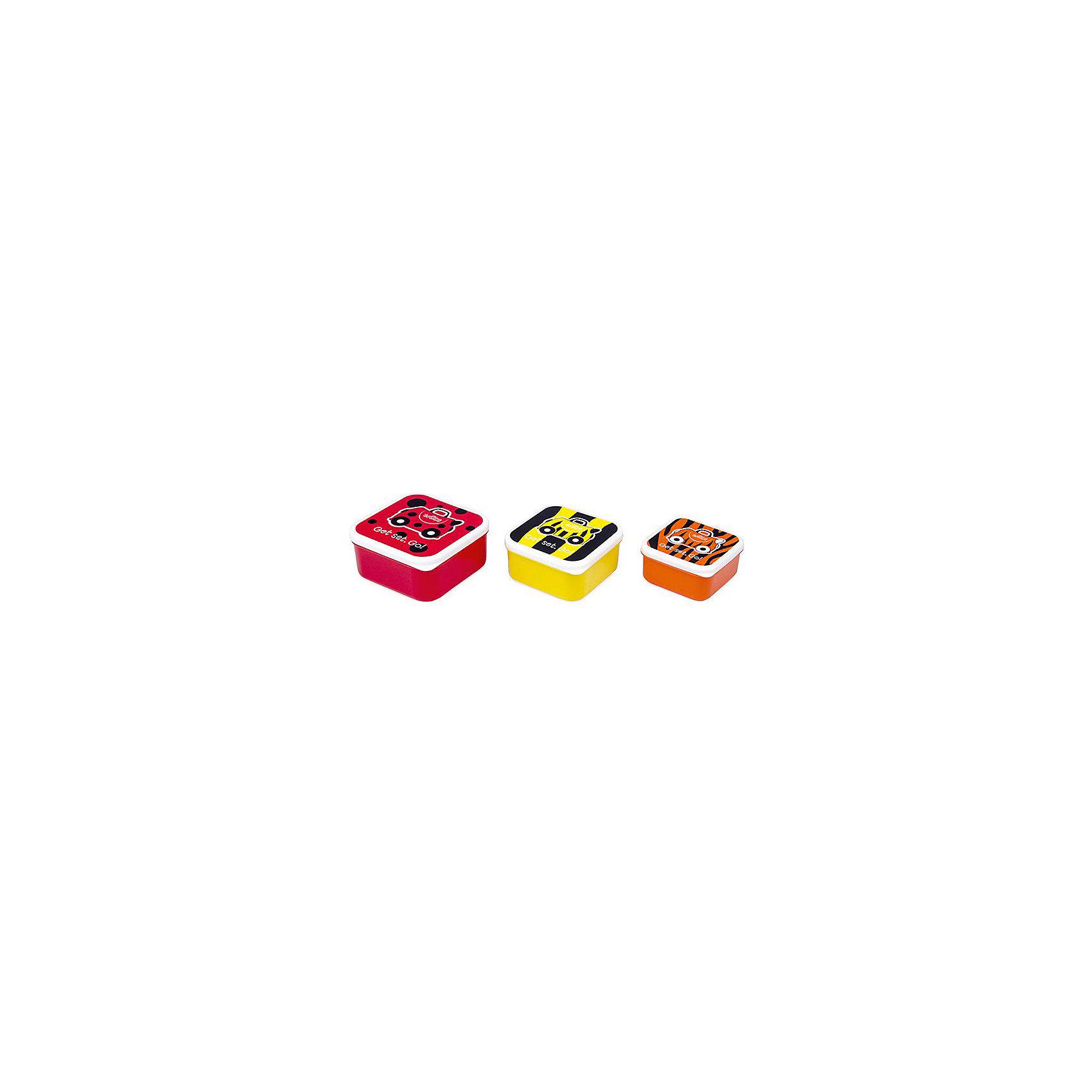 Контейнеры для еды 3 шт, красный, оранжевый, желтыйБутылки для воды и бутербродницы<br>Характеристики товара:<br><br>• возраст от 3 лет;<br>• материал: пластик;<br>• размер боксов 12x12x5,5 см, 10,5x10,5x5 см, 9x9x4,5 см;<br>• вес 250 гр.;<br>• страна производитель: Китай.<br><br>Контейнеры для еды 3 шт. Trunki красный, оранжевый, желтый позволяют брать с собой любимые блюда и закуски в путешествие, на пикник в парк или в школу. Крышки контейнеров украшены рисунком. Контейнеры изготовлены из качественного безопасного пластика. Нижняя часть контейнера моется в посудомоечной машине. Контейнеры не предназначены для использования в микроволновой печи.<br><br>Контейнеры для еды 3 шт. Trunki красный, оранжевый, желтый можно приобрести в нашем интернет-магазине.<br><br>Ширина мм: 120<br>Глубина мм: 55<br>Высота мм: 120<br>Вес г: 250<br>Возраст от месяцев: 36<br>Возраст до месяцев: 2147483647<br>Пол: Унисекс<br>Возраст: Детский<br>SKU: 5509349