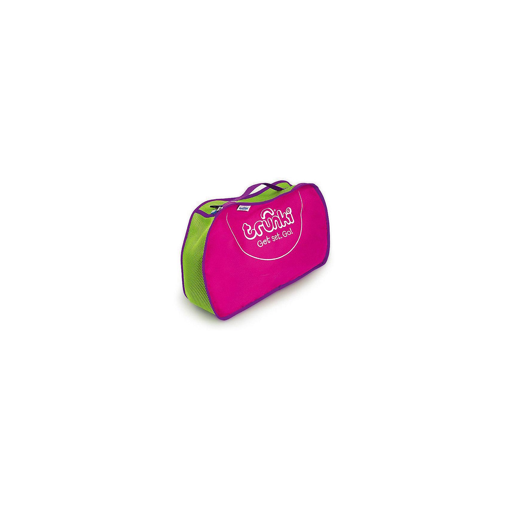 Сумка для хранения, розоваяДорожные сумки и чемоданы<br>Сумка для хранения Trunki – новый аксессуар для еще более комфортных путешествий с детьми. <br><br>Сумка для хранения отлично вмещается в одну из половинок чемоданов Trunki, позволяет аккуратно разместить вещи в чемодане, в нее можно сложить небольшие вещи и игрушки, чтобы они не затерялись среди других вещей в чемодане. Также сумку можно использовать отдельно, повесив на плечо при помощи длинного ремешка-ручки, которая входит в комплект каждого чемодана Trunki. <br><br>Боковые части сумки выполнены из прочной ткани розового цвета. По центру зеленая ткань с перфорацией для вентиляции вещей. Сумка застегивается на молнию, имеется фиолетовая ручка с двумя петлями по бокам для крепления длинного ремешка (входит в комплект чемоданов Trunki).<br><br>Ширина мм: 420<br>Глубина мм: 90<br>Высота мм: 270<br>Вес г: 300<br>Возраст от месяцев: 24<br>Возраст до месяцев: 2147483647<br>Пол: Унисекс<br>Возраст: Детский<br>SKU: 5509351