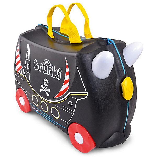 Чемодан на колесиках Педро ПиратДорожные сумки и чемоданы<br>Характеристики товара:<br><br>• материал: пластик;<br>• в комплекте: чемодан, ремень, наклейки;<br>• максимальный вес нагрузки 50 кг;<br>• объем чемодана 18 литров;<br>• размер чемодана 46х20х30,5 см;<br>• вес чемодана 1,7 кг;<br>• страна производитель: Великобритания.<br><br>Чемодан на колесиках «Педро Пират» Trunki выполнен в виде пиратского корабля. Украсить чемодан можно самостоятельно, проявляя фантазию, при помощи наклеек в виде попугая, сокровищ, якоря. С ним ребенок возьмет в путешествие любимые игрушки, книги, раскраски и фломастеры, а также необходимую одежду. Чемодан легко перемещать, перевозя на колесиках или перенося за удобную текстильную ручку. Внутренняя резинка сдерживает все содержимое чемодана и защищает от повреждений. Закрывается чемодан на пластиковый надежный замок.<br><br>Чемодан не даст соскучиться в аэропорту в ожидании рейса. Благодаря его прочной конструкции на нем можно покататься, держась на забавные рожки на передней части чемодана. В комплекте прочный ремень с карабинами, позволяющий перемещать чемодан или катать на нем малыша. Изготовлен чемодан из прочного легкого пластика.<br><br>Чемодан на колесиках «Педро Пират» Trunki можно приобрести в нашем интернет-магазине.<br><br>Ширина мм: 460<br>Глубина мм: 200<br>Высота мм: 305<br>Вес г: 1700<br>Возраст от месяцев: 24<br>Возраст до месяцев: 2147483647<br>Пол: Мужской<br>Возраст: Детский<br>SKU: 5509352
