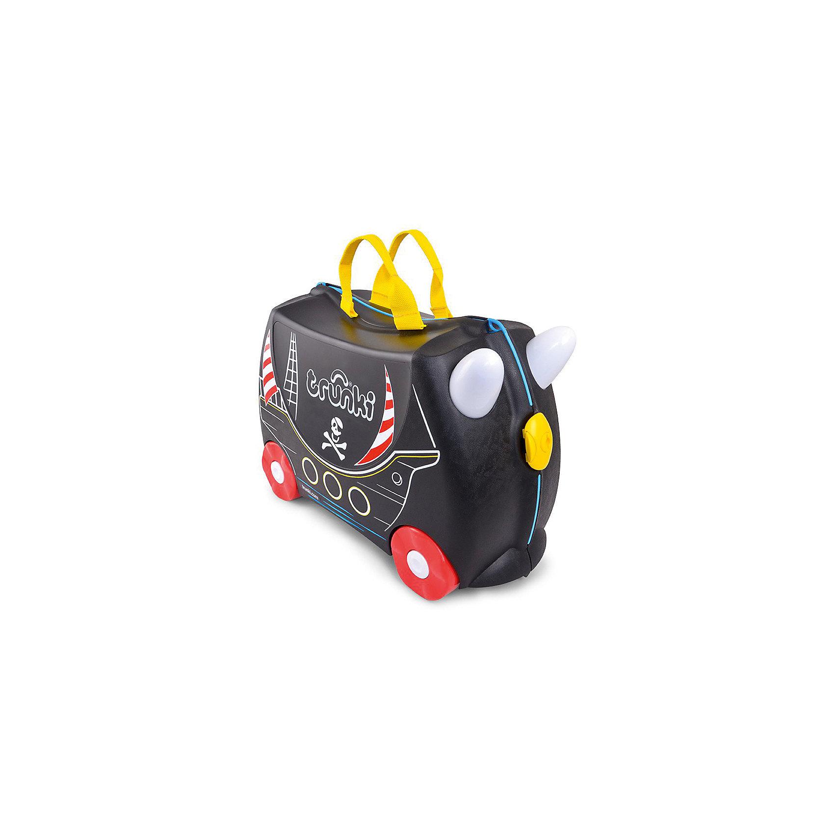 Чемодан на колесиках Педро ПиратДетский чемодан Педро Пират - восхитительная новинка от английского производителя детских чемоданов и дорожных аксессуаров! С таким чемоданом малыш сможет почувствовать себя настоящим пиратом, отправившимся на поиски приключений по волнам далеких морей! <br><br>Чемоданы Trunki сделаны из прочного легкого пластика, что позволяет не только брать их с собой в путешествие, но даже кататься на них! <br><br>Чемодан, выполненный в виде пиратского корабля, непременно порадует каждого маленького путешественника. Чемодан сделан в черном цвете с рисунком, имитирующим борт корабля с окошками, мачтой, флагами и пиратским знаком. Яркие красные колеса и желтые ручки делают чемодан более веселым и заметным. У чемоданчика есть забавные ручки в виде рожек, для того, чтобы ребенок мог держаться во время катания.  <br><br>Также в комплект с чемоданом входят наклейки с изображением пиратских сокровищ, попугаев, пальм, якоря, которыми можно декорировать чемодан по своему усмотрению. Удобная прочная и длинная ручка из текстиля позволяет родителям возить чемодан или катать ребенка. <br><br>Несмотря на забавный внешний вид, чемодан Транки очень прочен и функционален. Вместительная конструкция весит меньше 2 кг. Выемка в верхней части корпуса служит анатомическим сиденьем, и мало какой ребёнок откажется от удовольствия прокатиться на таком необычном транспорте. <br><br>Особенности чемодана Trunki:<br><br>Прочный легкий корпус с удобным сидением,<br>Широкие устойчивые колеса для перемещения и катания,<br>Прорезиненный мягкий обод вдоль отделений чемодана,<br>Надежный безопасный замок защищает от случайного раскрытия,<br>Специальный ремень с прочными карабинами позволяет легко перемещать чемодан и катать ребенка,<br>Ручки из пластика на корпусе чемодана позволяют ребенку держаться при перемещении,<br>Наклейки в комплекте.<br>Чемоданы Trunki были созданы в Англии для того, чтобы малыши не скучали во время путешествий. В удобный вместительный чемодан можно заполни