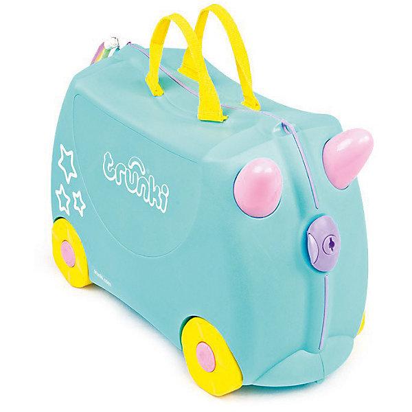 Чемодан на колесиках Единорог УнаДорожные сумки и чемоданы<br>Характеристики товара:<br><br>• материал: пластик;<br>• в комплекте: чемодан, ремень, рог, хвостик, наклейки;<br>• максимальный вес нагрузки 50 кг;<br>• объем чемодана 18 литров;<br>• размер чемодана 46х20х30,5 см;<br>• вес чемодана 1,7 кг;<br>• страна производитель: Великобритания.<br><br>Чемодан на колесиках «Единорог Уна» Trunki выполнен в виде забавного голубого единорога с рогом и хвостиком. Украсить чемодан можно самостоятельно, проявляя фантазию, при помощи ярких переливающихся наклеек. С ним ребенок возьмет в путешествие любимые игрушки, книги, раскраски и фломастеры, а также необходимую одежду. Чемодан легко перемещать, перевозя на колесиках или перенося за удобную текстильную ручку. Внутренняя резинка сдерживает все содержимое чемодана и защищает от повреждений. Закрывается чемодан на пластиковый надежный замок.<br><br>Чемодан не даст соскучиться в аэропорту в ожидании рейса. Благодаря его прочной конструкции на нем можно покататься, держась на забавные рожки на передней части чемодана. В комплекте прочный ремень с карабинами, позволяющий перемещать чемодан или катать на нем малыша. Изготовлен чемодан из прочного легкого пластика.<br><br>Чемодан на колесиках «Единорог Уна» Trunki можно приобрести в нашем интернет-магазине.<br><br>Ширина мм: 460<br>Глубина мм: 200<br>Высота мм: 305<br>Вес г: 1700<br>Возраст от месяцев: 24<br>Возраст до месяцев: 2147483647<br>Пол: Женский<br>Возраст: Детский<br>SKU: 5509353